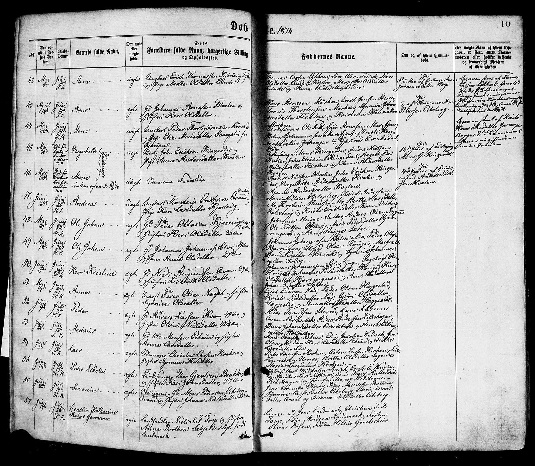 SAB, Hafslo Sokneprestembete, H/Haa/Haaa/L0011: Ministerialbok nr. A 11, 1873-1886, s. 10