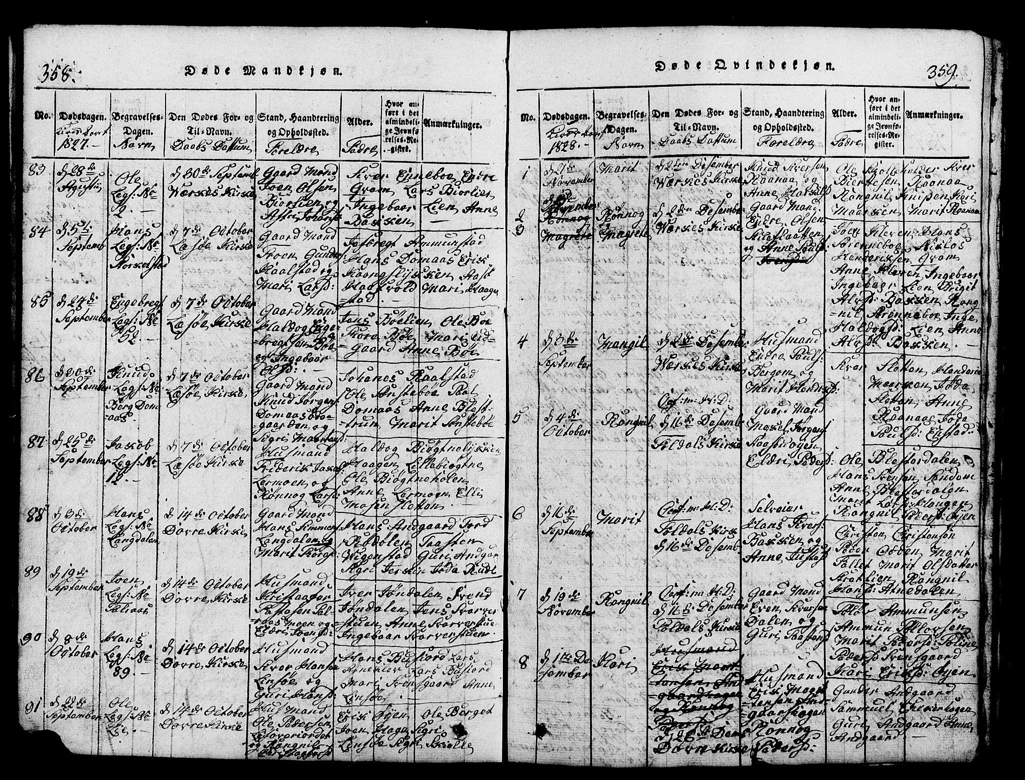SAH, Lesja prestekontor, Klokkerbok nr. 1, 1820-1831, s. 358-359