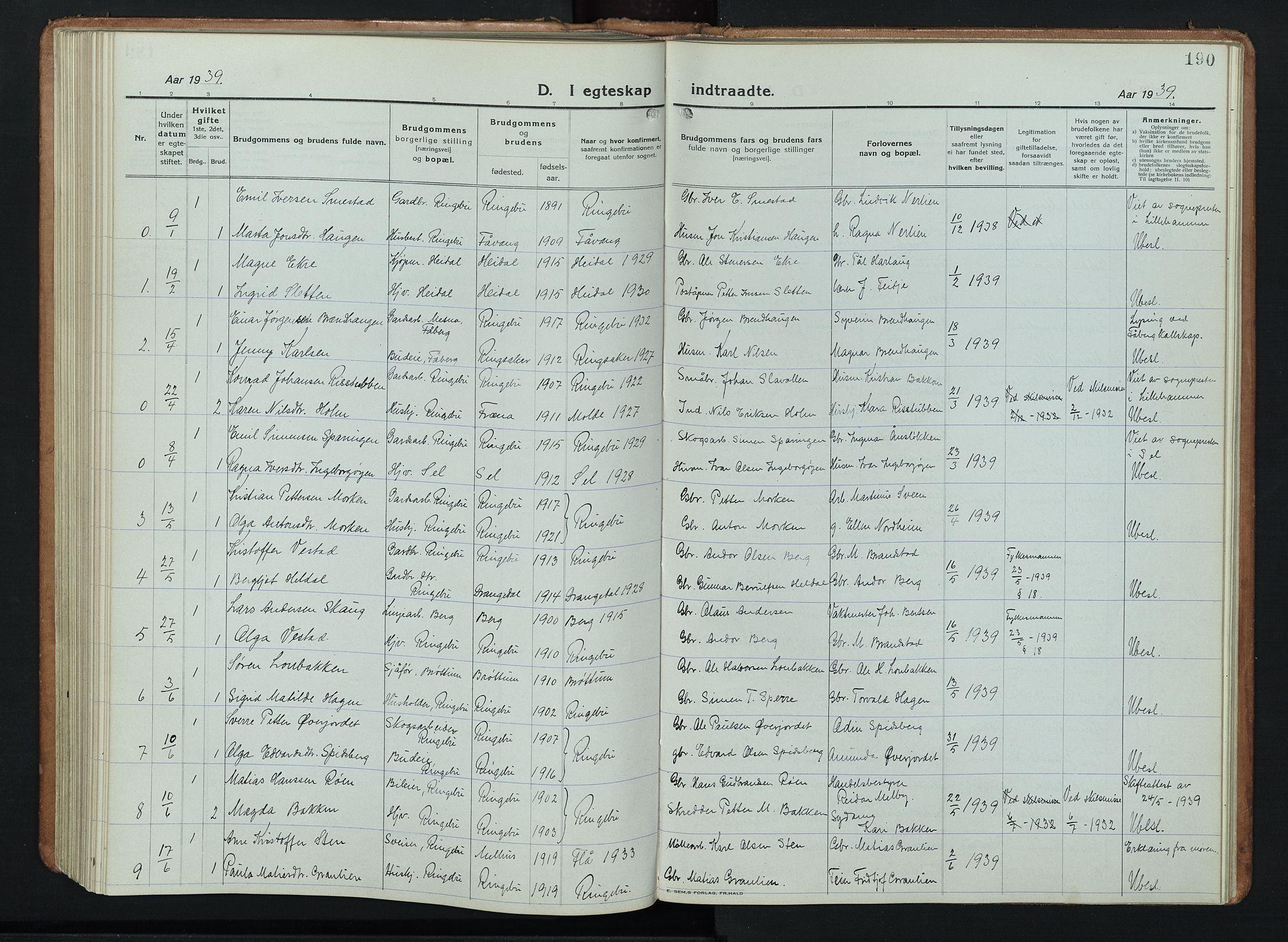 SAH, Ringebu prestekontor, Klokkerbok nr. 11, 1921-1943, s. 190