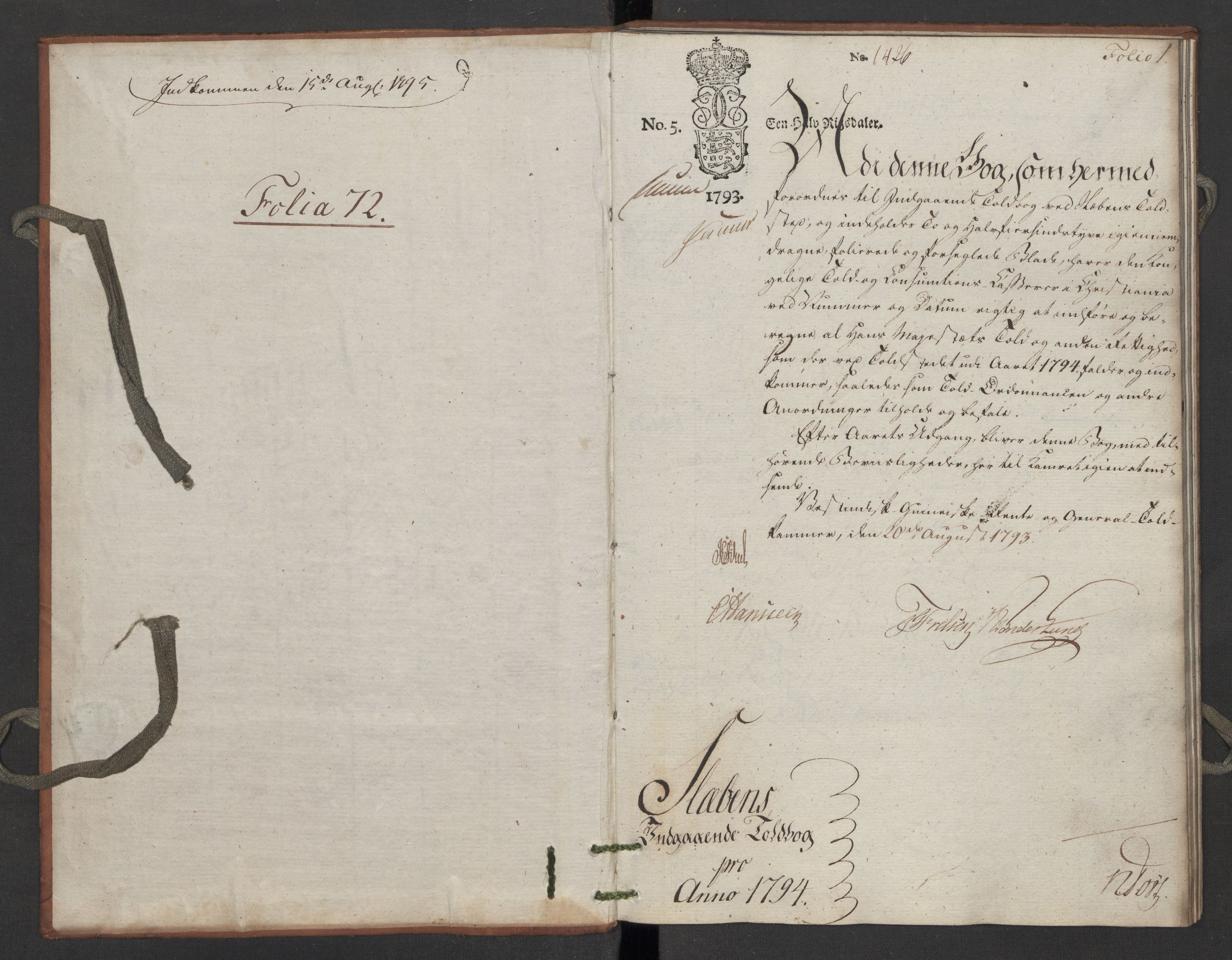 RA, Generaltollkammeret, tollregnskaper, R06/L0195: Tollregnskaper Kristiania, 1794, s. 1a