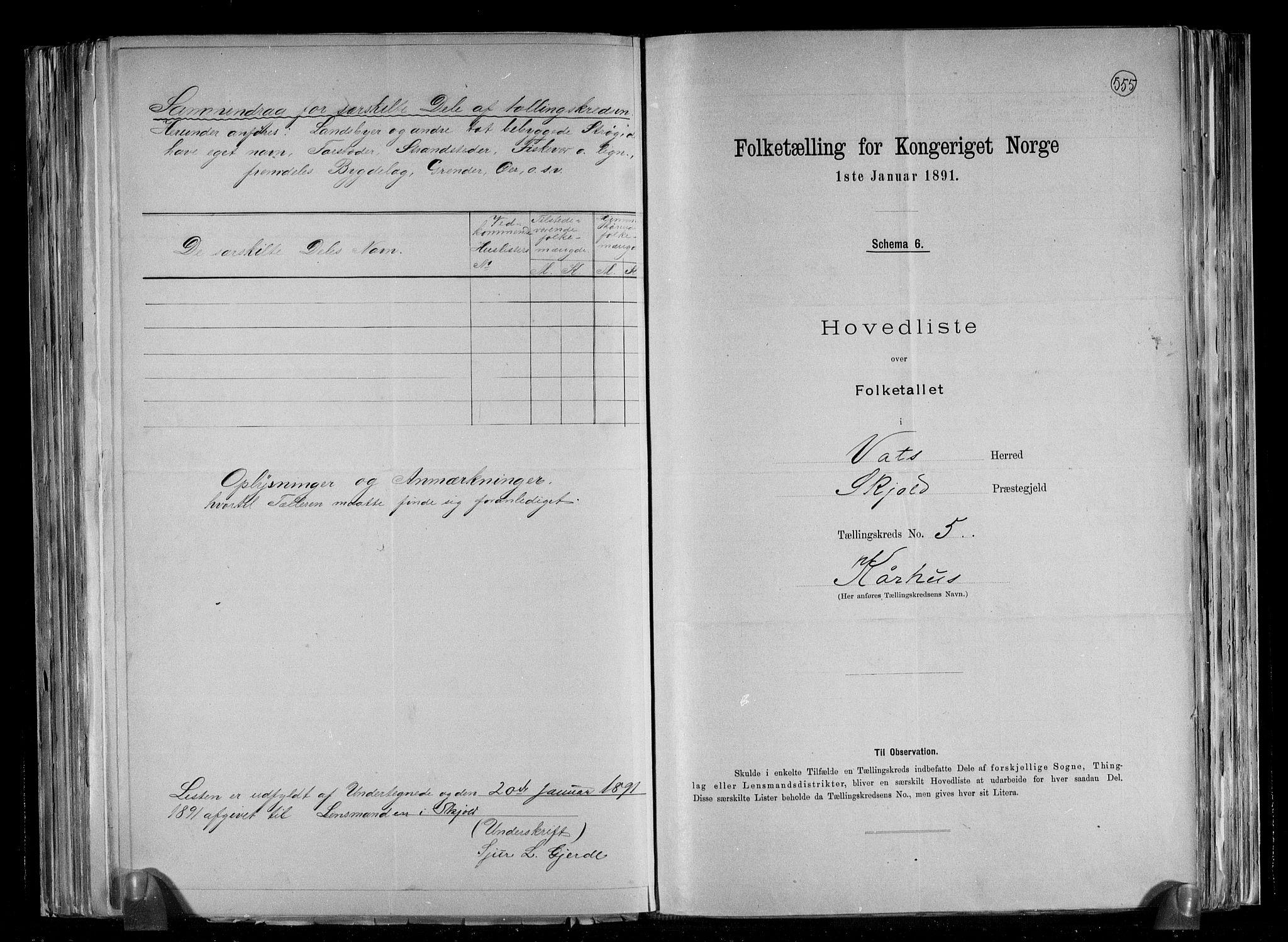 RA, Folketelling 1891 for 1155 Vats herred, 1891, s. 13