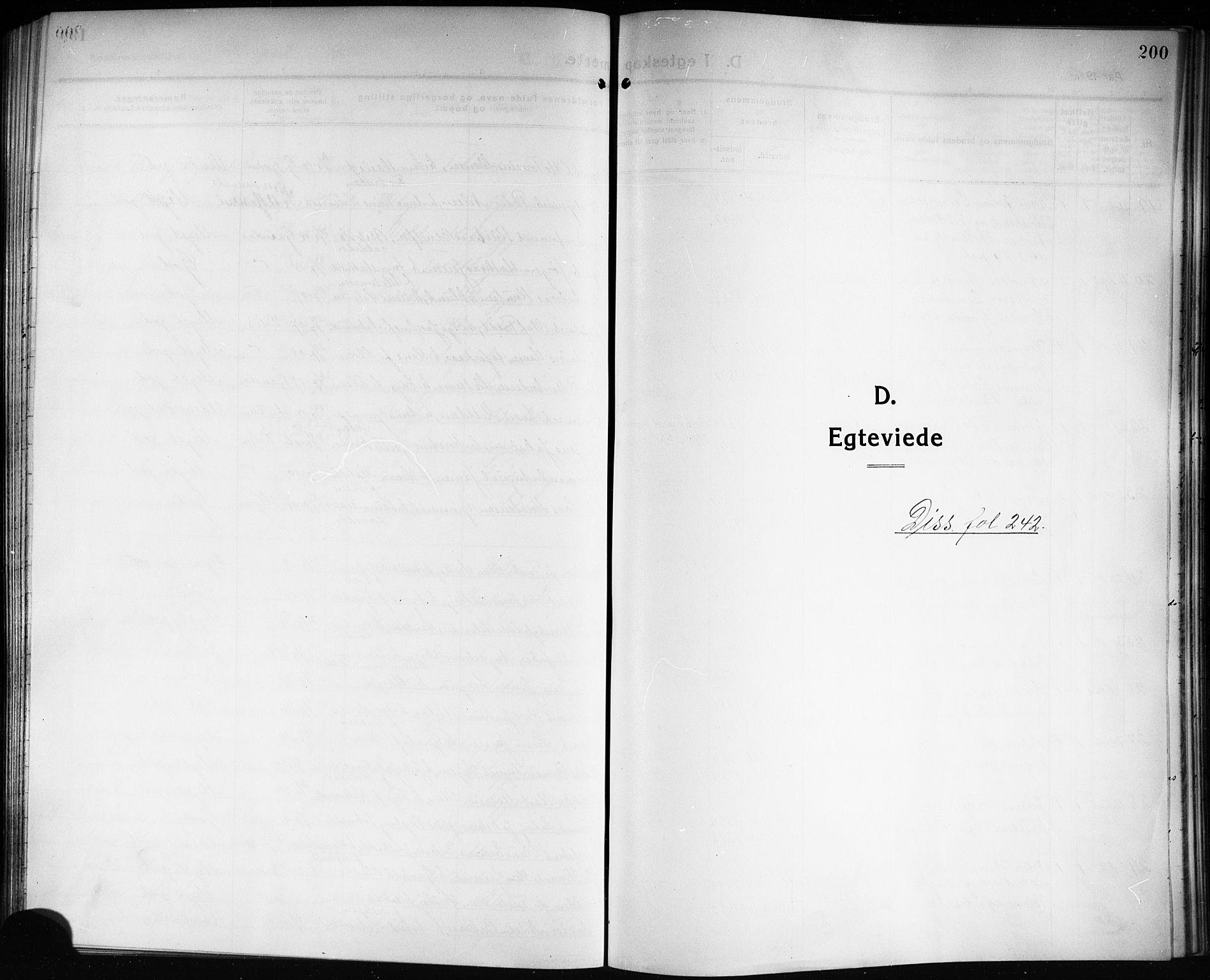 SAKO, Solum kirkebøker, G/Ga/L0009: Klokkerbok nr. I 9, 1909-1922, s. 200