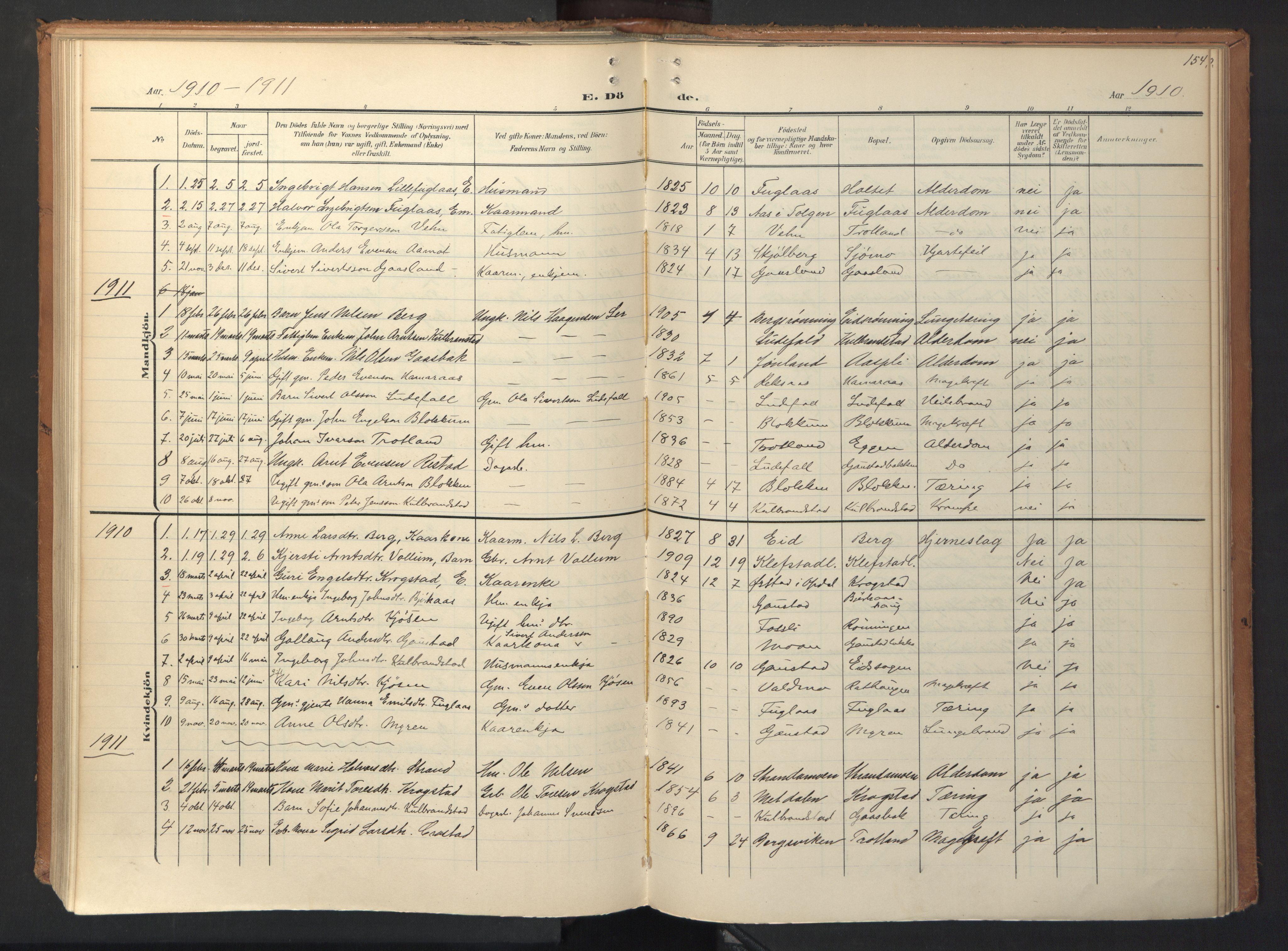 SAT, Ministerialprotokoller, klokkerbøker og fødselsregistre - Sør-Trøndelag, 694/L1128: Ministerialbok nr. 694A02, 1906-1931, s. 154