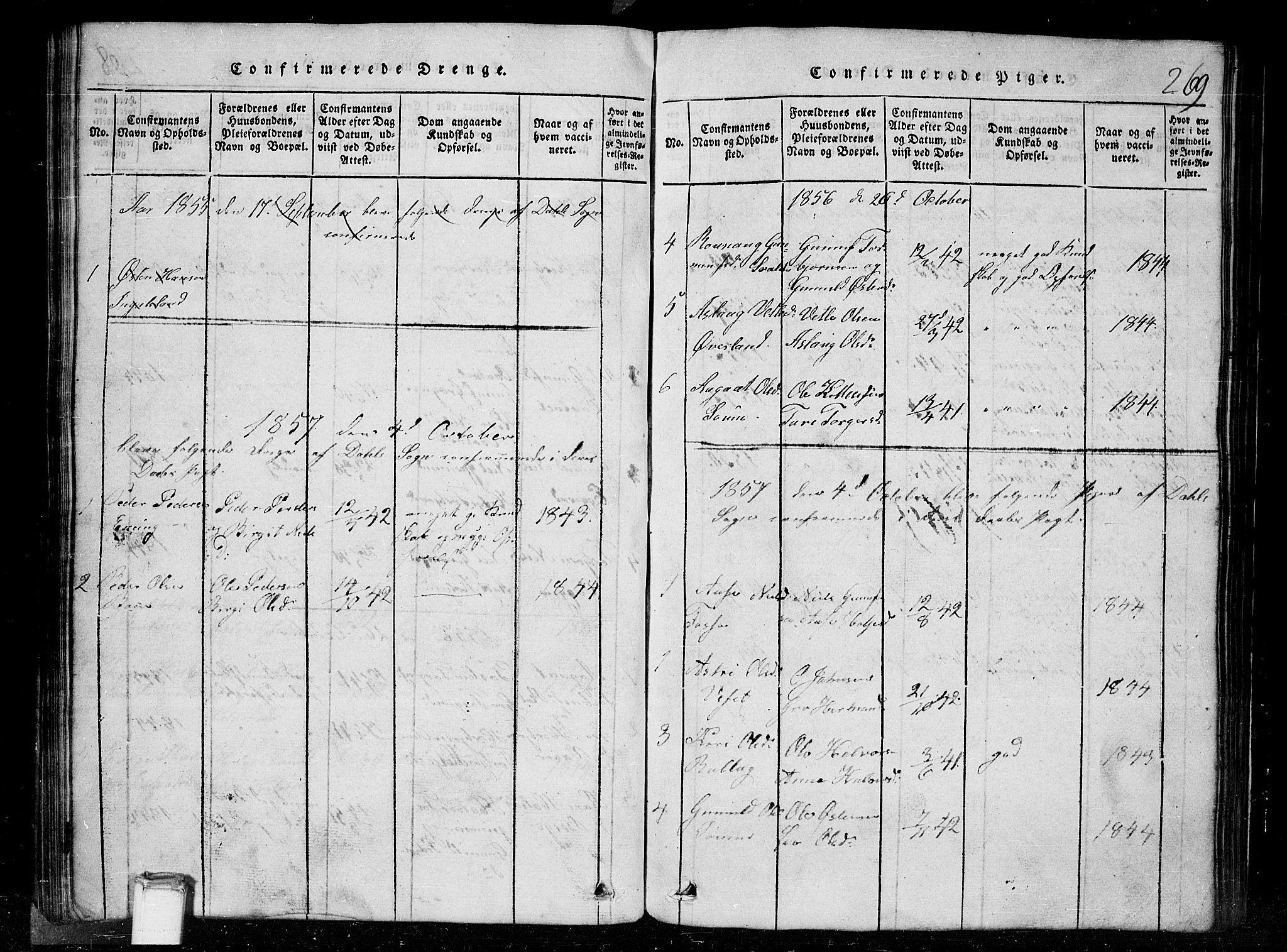 SAKO, Tinn kirkebøker, G/Gc/L0001: Klokkerbok nr. III 1, 1815-1879, s. 269