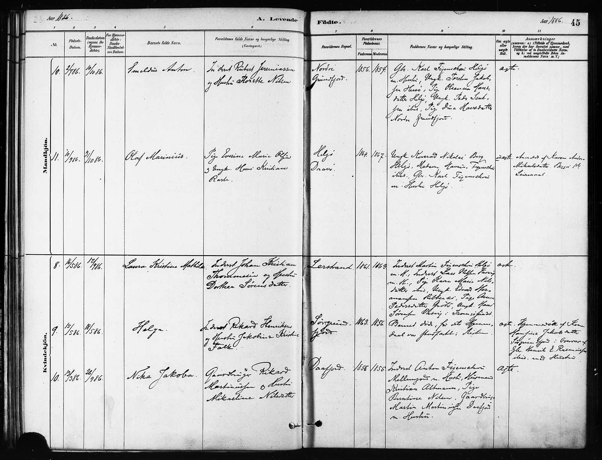 SATØ, Karlsøy sokneprestembete, H/Ha/Haa/L0011kirke: Ministerialbok nr. 11, 1879-1892, s. 45