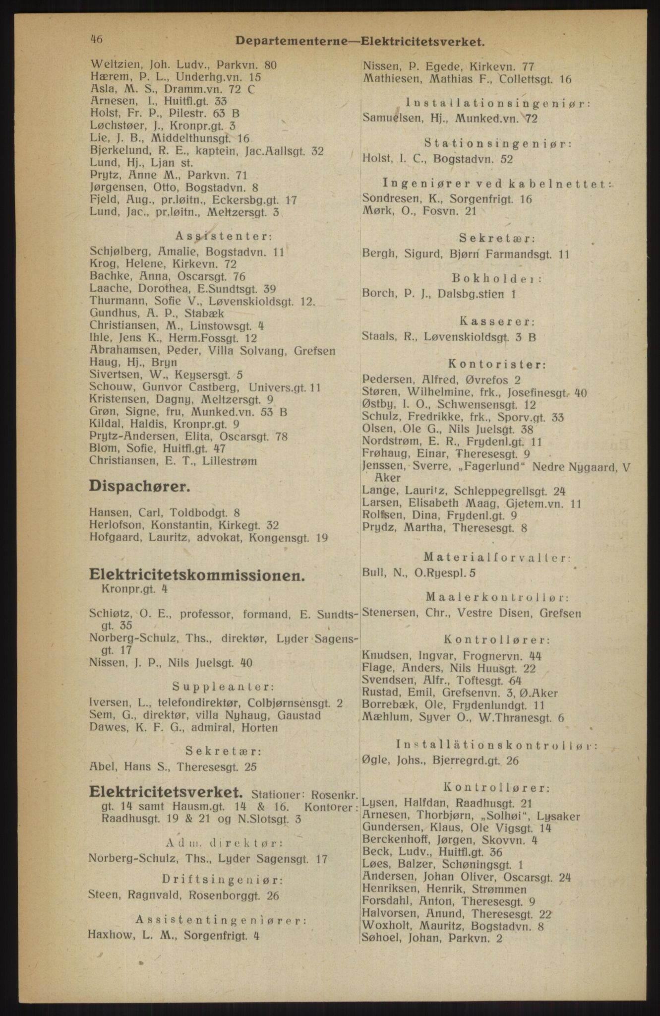 RA, Kristiania adressebok (publikasjon)*, 1914, s. 46