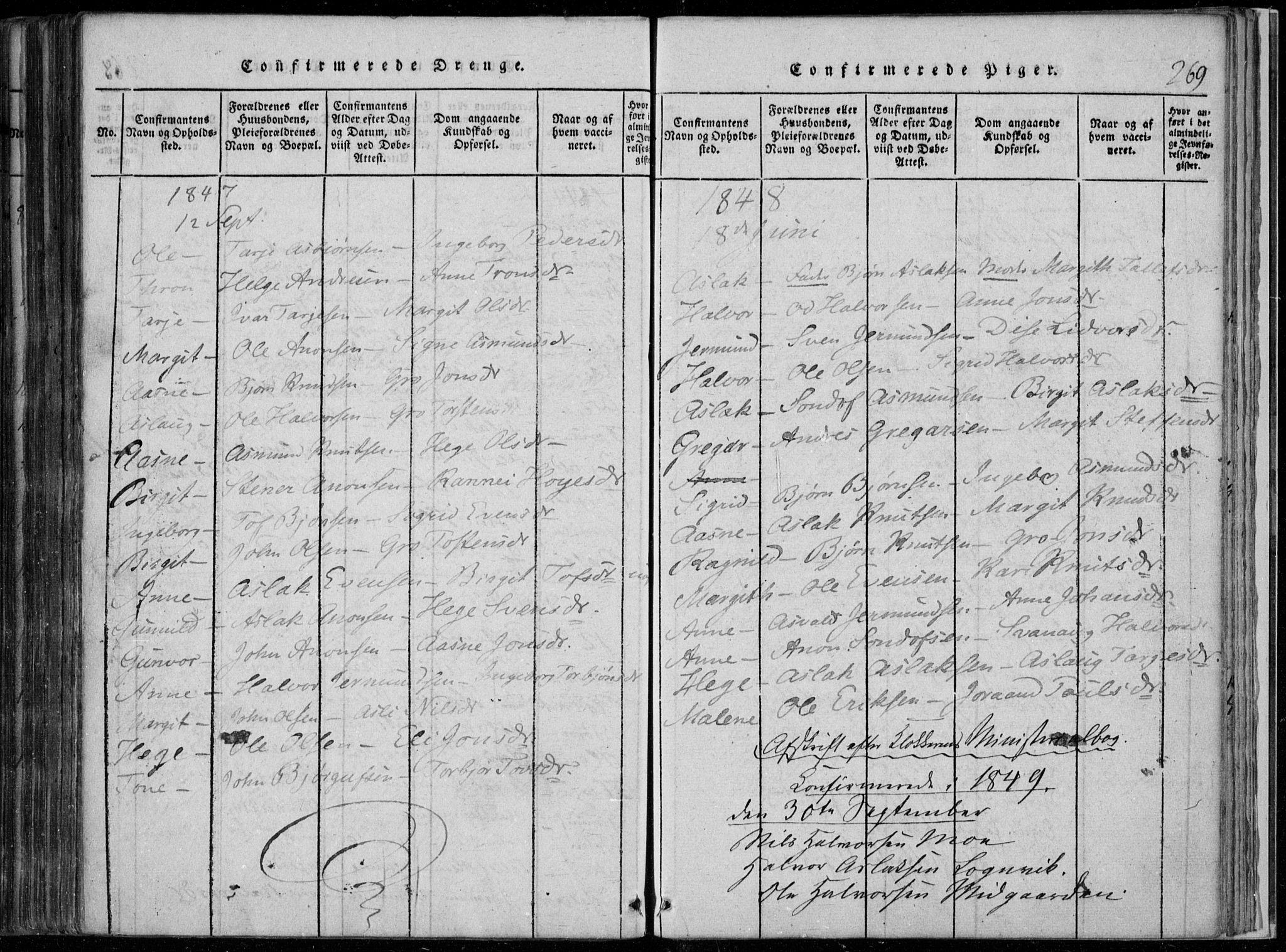 SAKO, Rauland kirkebøker, F/Fa/L0001: Ministerialbok nr. 1, 1814-1859, s. 269