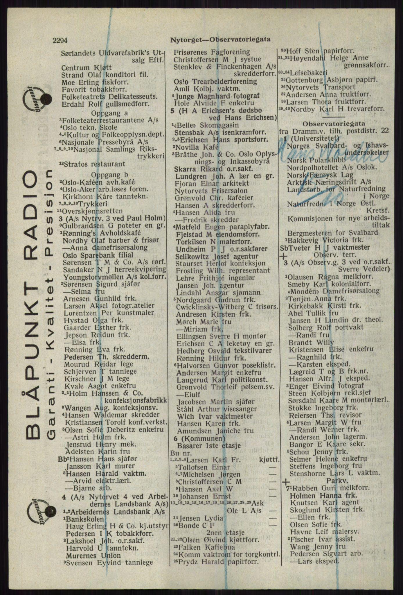RA, Oslo adressebok (publikasjon)*, 1941, s. 2294