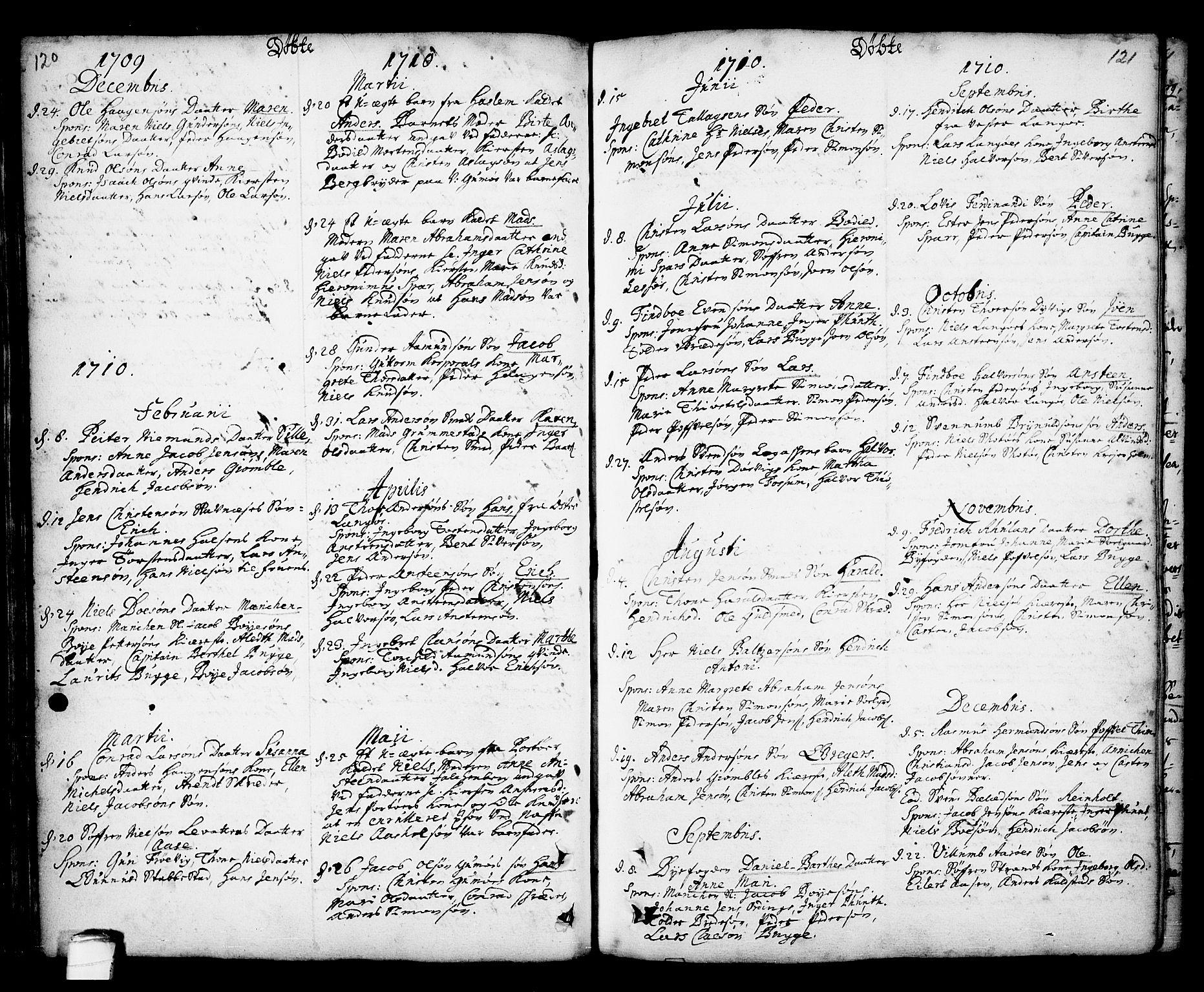 SAKO, Kragerø kirkebøker, F/Fa/L0001: Ministerialbok nr. 1, 1702-1766, s. 120-121