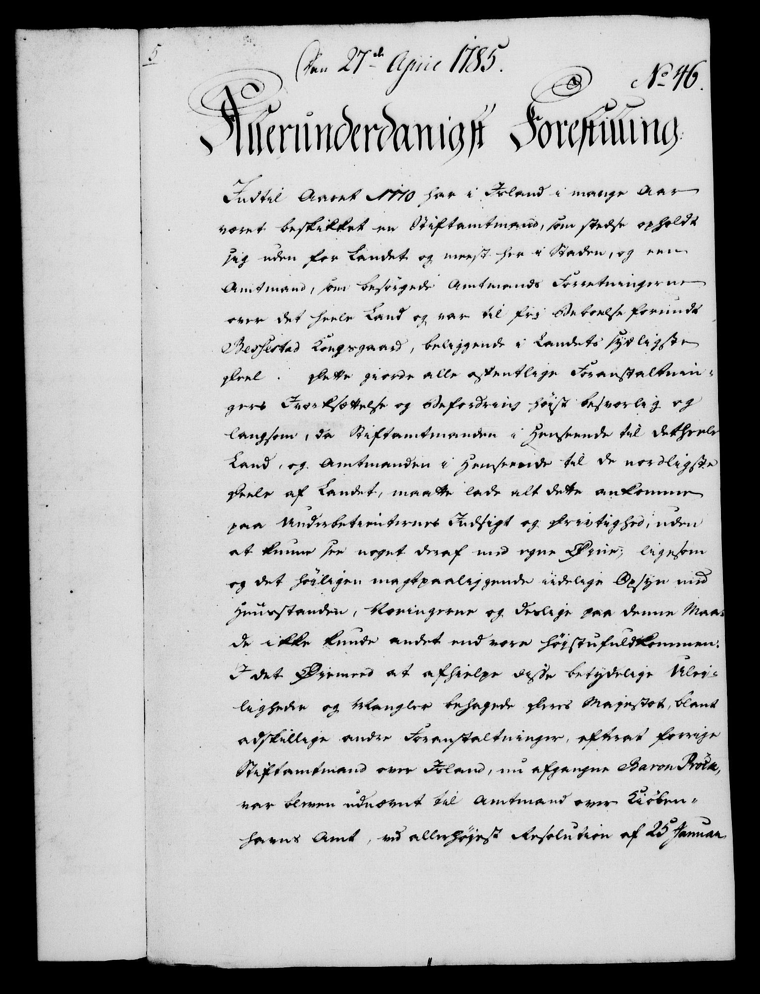 RA, Rentekammeret, Kammerkanselliet, G/Gf/Gfa/L0067: Norsk relasjons- og resolusjonsprotokoll (merket RK 52.67), 1785, s. 370