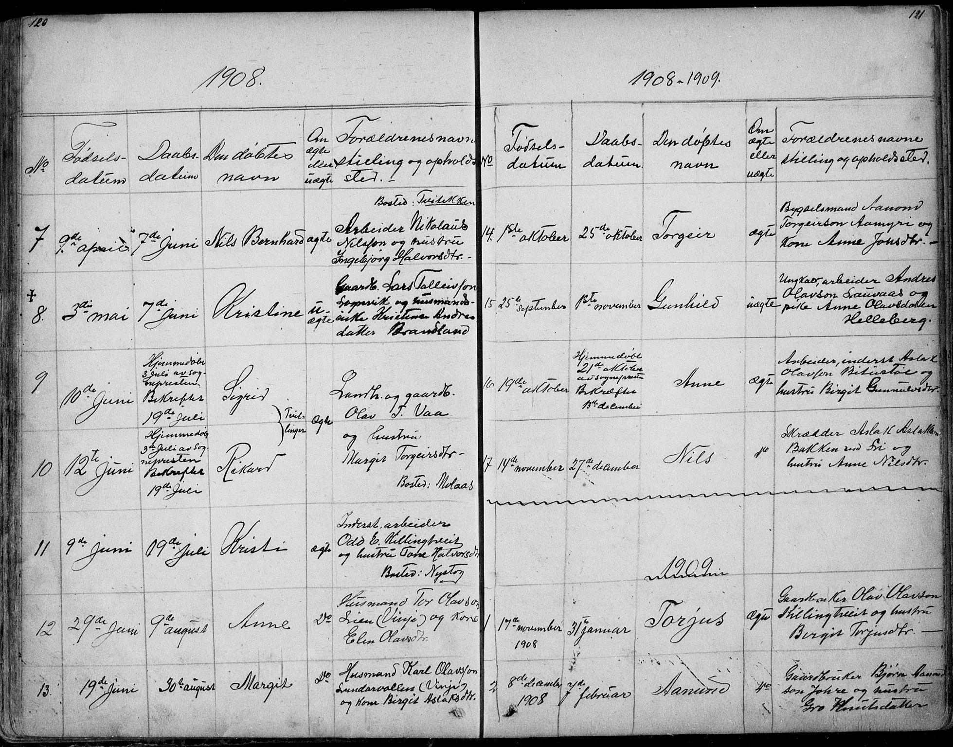 SAKO, Rauland kirkebøker, G/Ga/L0002: Klokkerbok nr. I 2, 1849-1935, s. 120-121