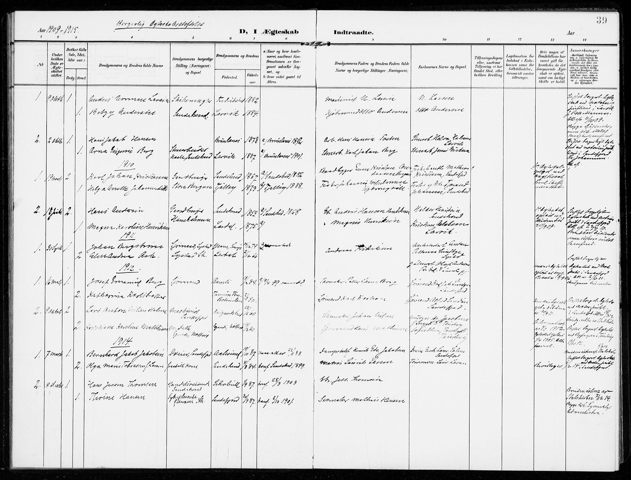 SAKO, Sandar kirkebøker, F/Fa/L0019: Ministerialbok nr. 19, 1908-1914, s. 39