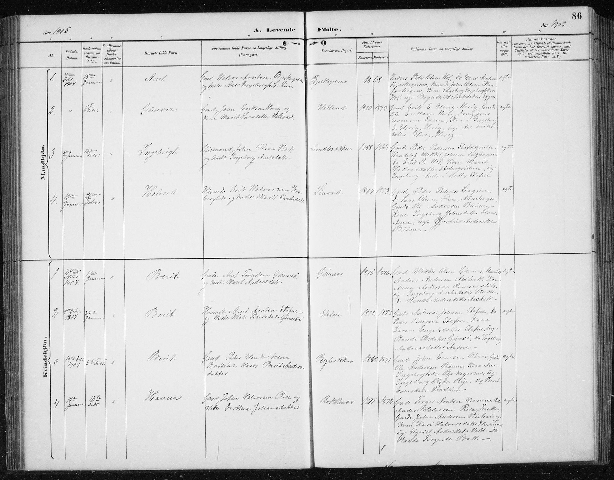 SAT, Ministerialprotokoller, klokkerbøker og fødselsregistre - Sør-Trøndelag, 674/L0876: Klokkerbok nr. 674C03, 1892-1912, s. 86