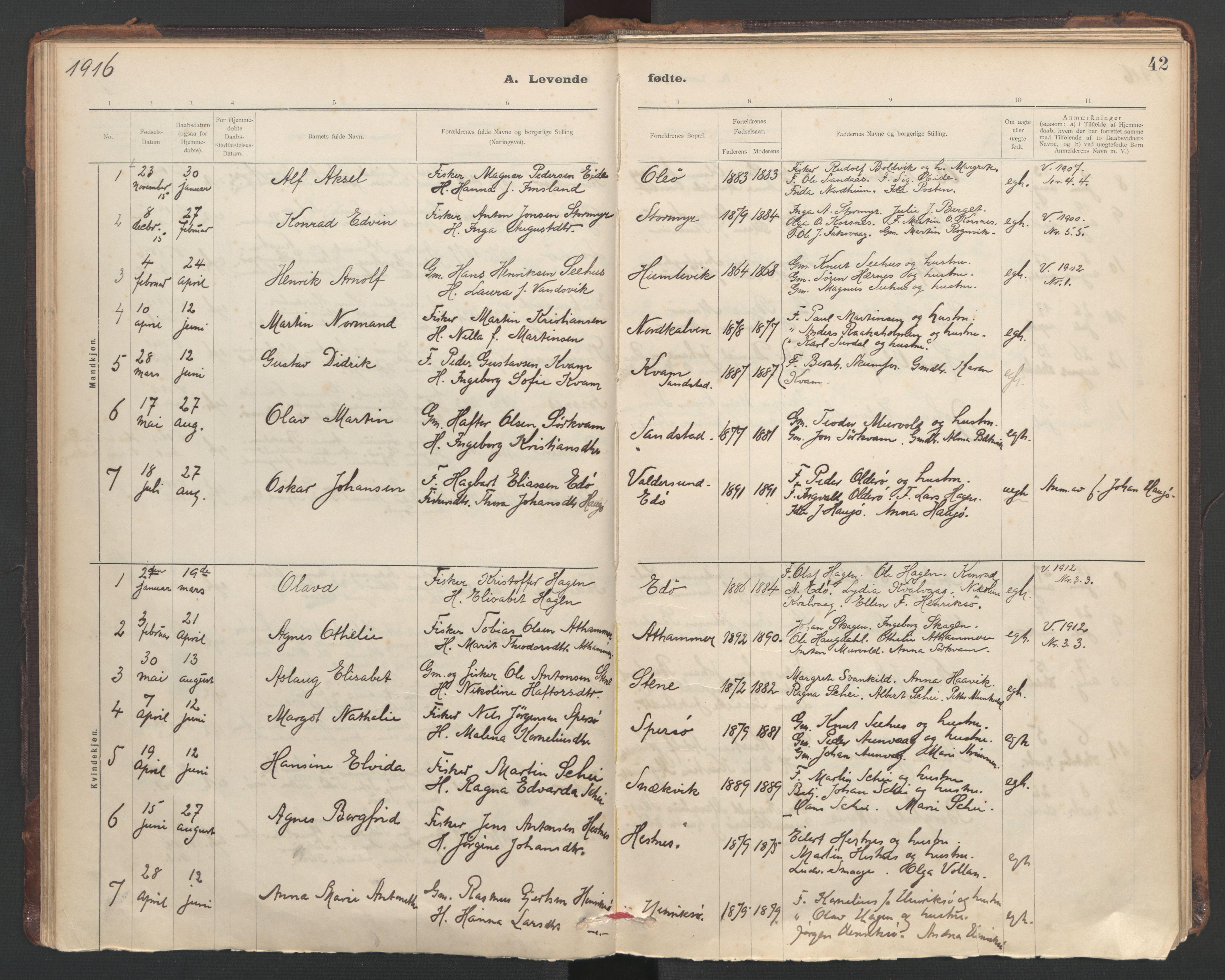SAT, Ministerialprotokoller, klokkerbøker og fødselsregistre - Sør-Trøndelag, 635/L0552: Ministerialbok nr. 635A02, 1899-1919, s. 42