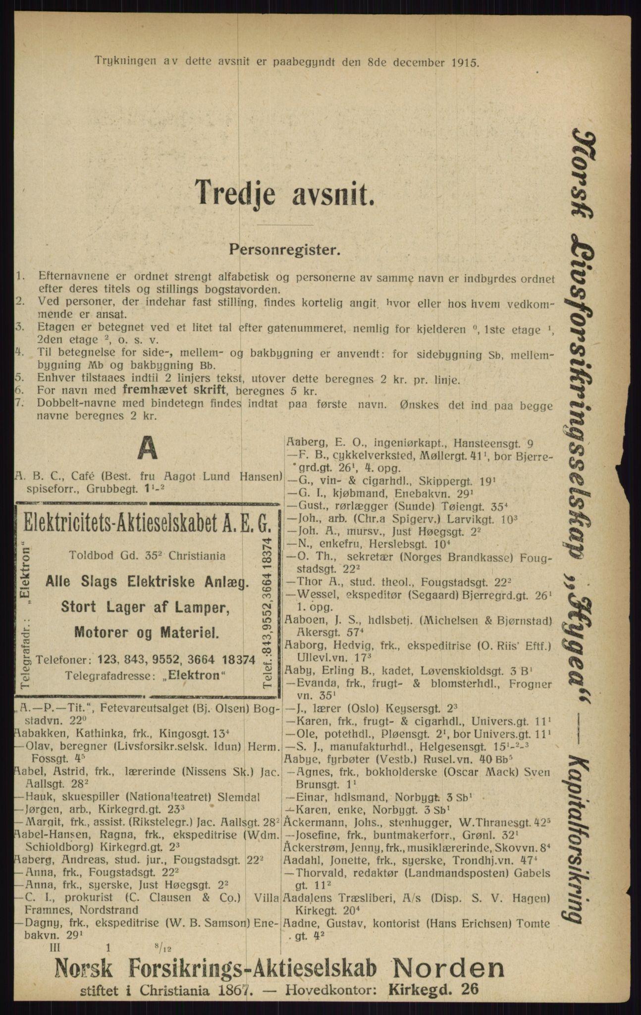 RA, Kristiania adressebok (publikasjon)*, 1916, s. 211