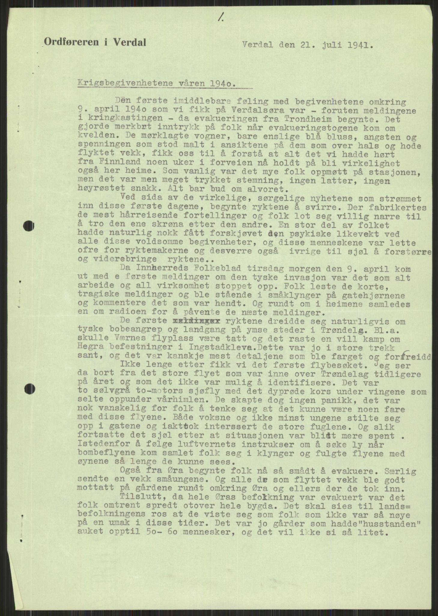 RA, Forsvaret, Forsvarets krigshistoriske avdeling, Y/Ya/L0016: II-C-11-31 - Fylkesmenn.  Rapporter om krigsbegivenhetene 1940., 1940, s. 593