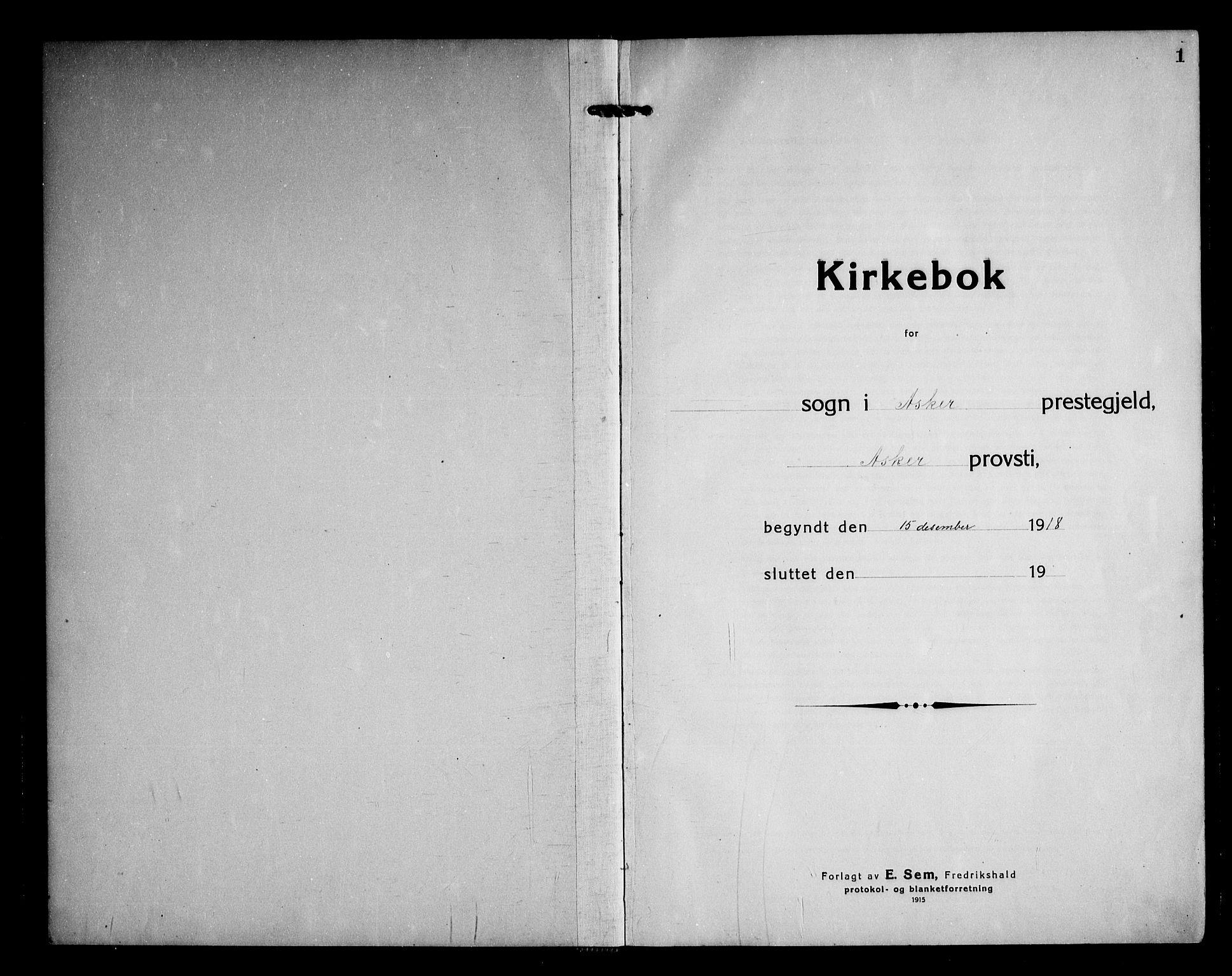 SAO, Asker prestekontor Kirkebøker, F/Fa/L0020: Ministerialbok nr. I 20, 1918-1948, s. 1