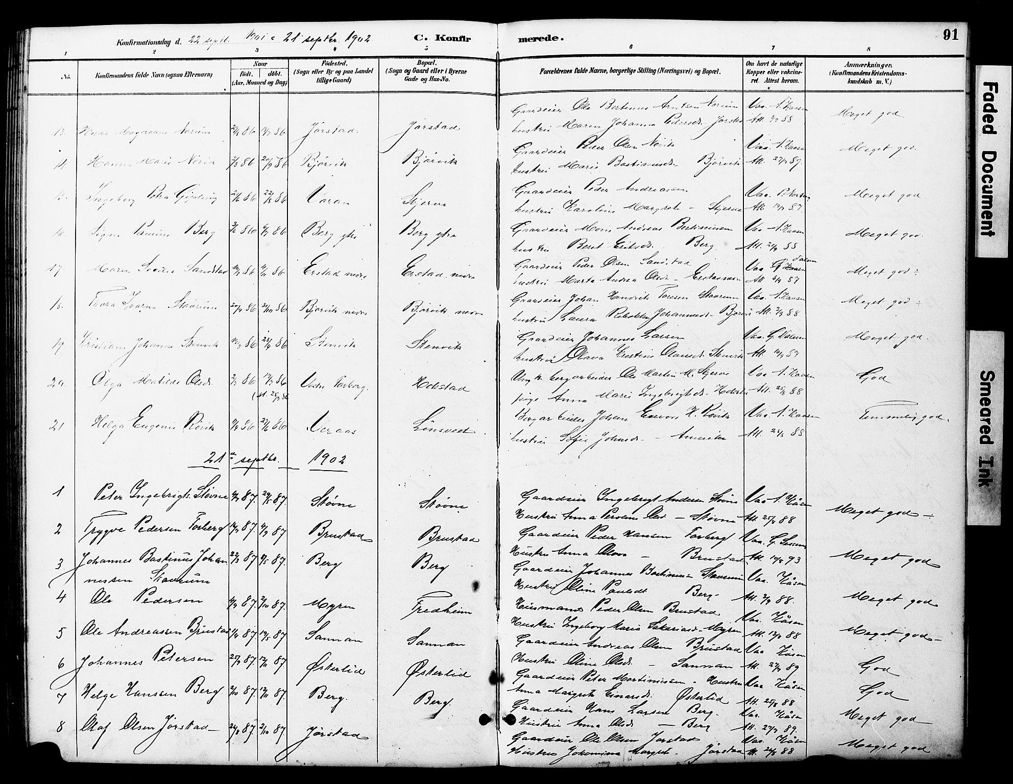 SAT, Ministerialprotokoller, klokkerbøker og fødselsregistre - Nord-Trøndelag, 722/L0226: Klokkerbok nr. 722C02, 1889-1927, s. 91