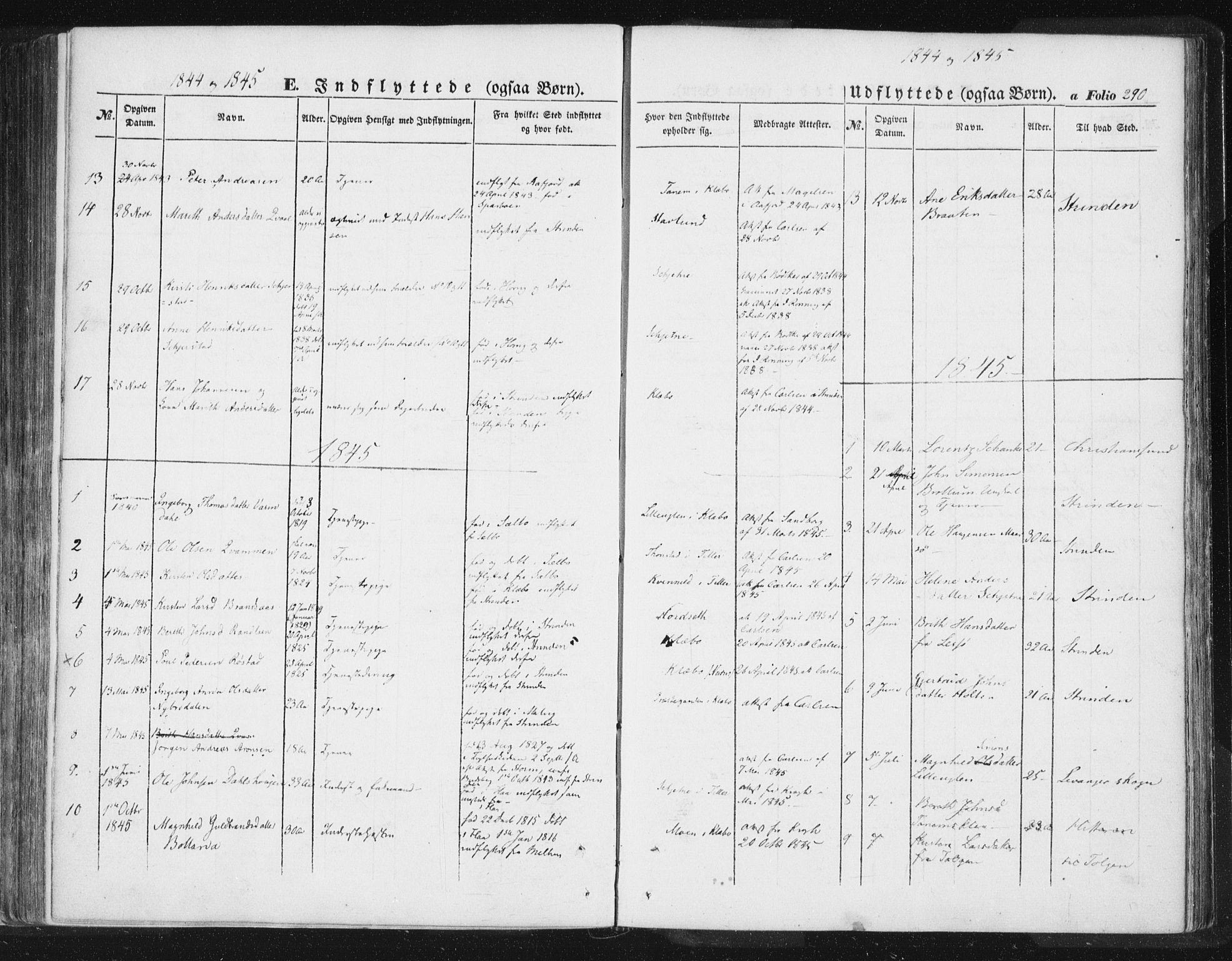 SAT, Ministerialprotokoller, klokkerbøker og fødselsregistre - Sør-Trøndelag, 618/L0441: Ministerialbok nr. 618A05, 1843-1862, s. 290