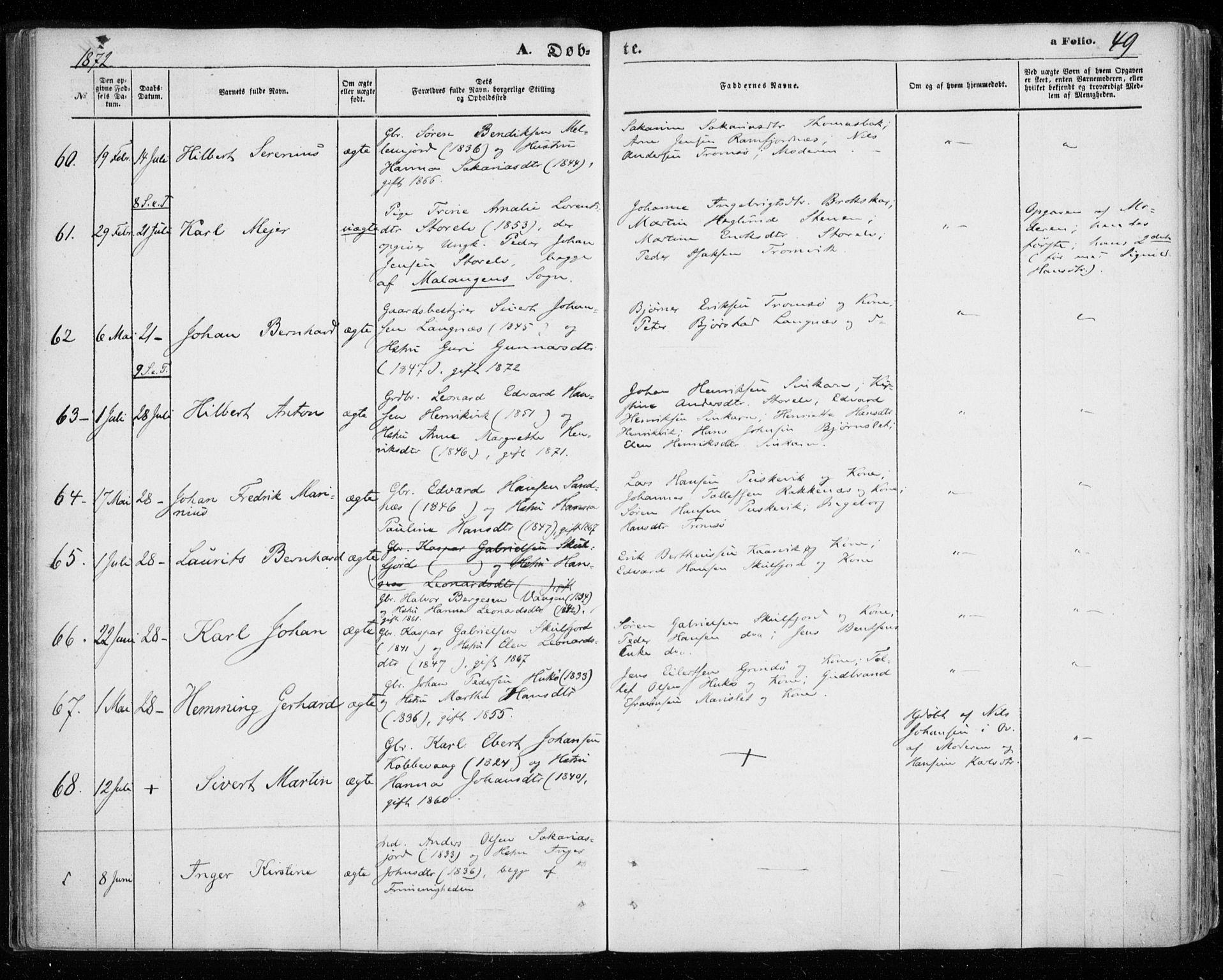 SATØ, Tromsøysund sokneprestkontor, G/Ga/L0002kirke: Ministerialbok nr. 2, 1867-1875, s. 49
