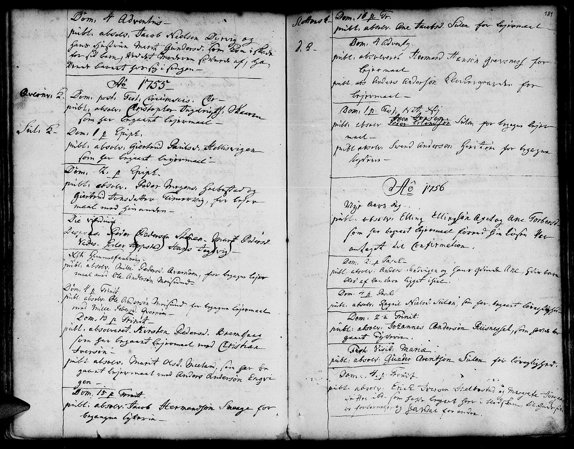 SAT, Ministerialprotokoller, klokkerbøker og fødselsregistre - Sør-Trøndelag, 634/L0525: Ministerialbok nr. 634A01, 1736-1775, s. 181