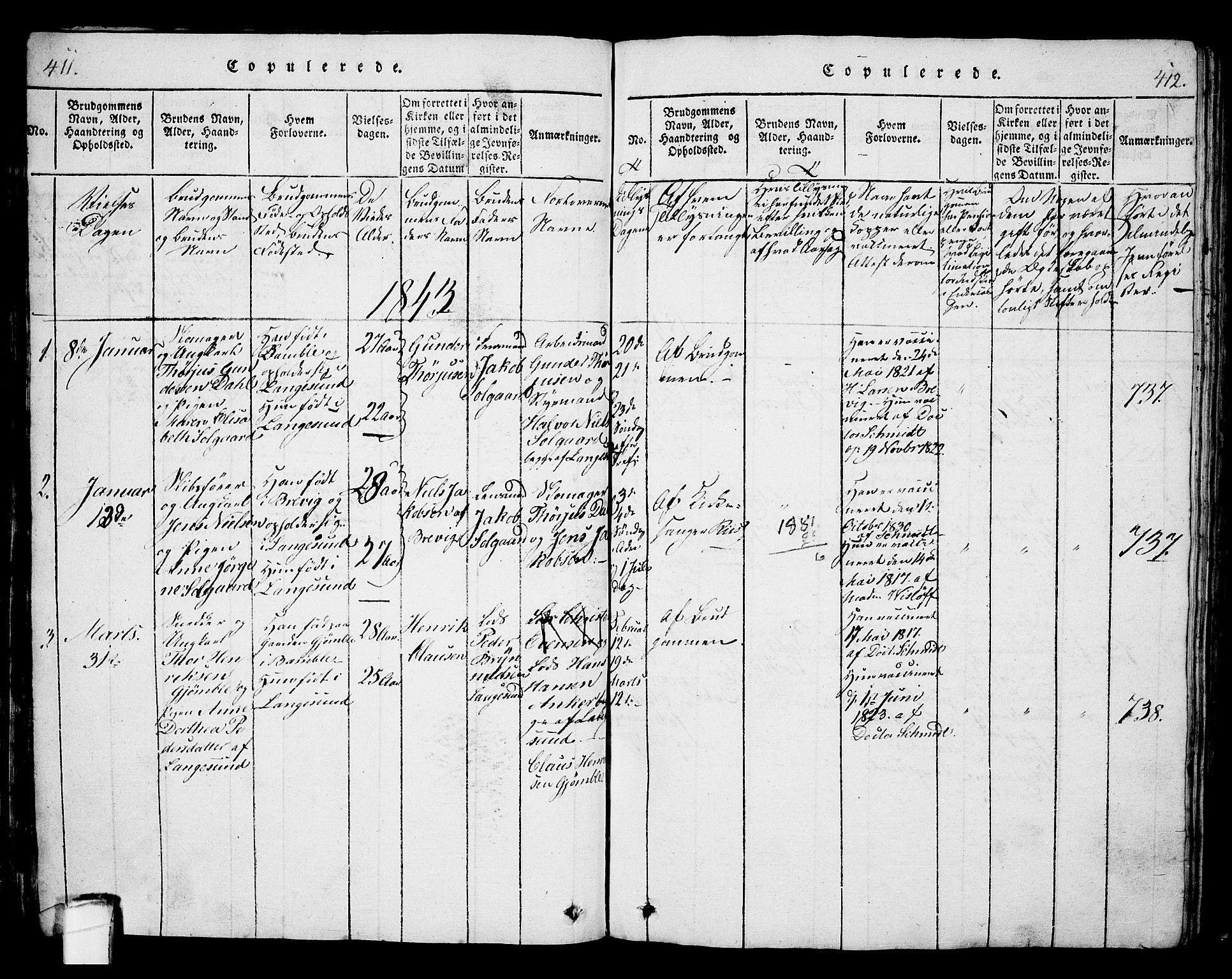 SAKO, Langesund kirkebøker, G/Ga/L0003: Klokkerbok nr. 3, 1815-1858, s. 411-412