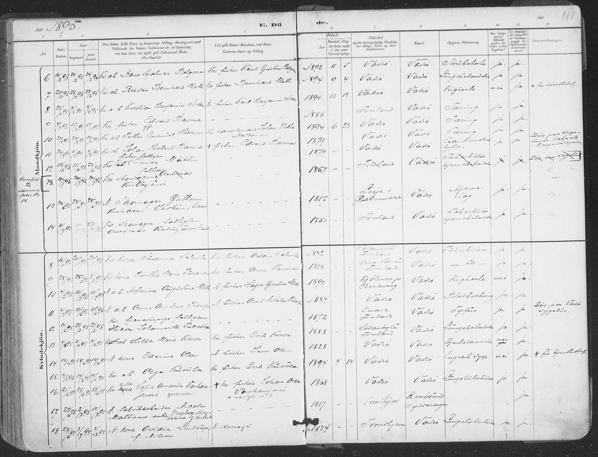 SATØ, Vadsø sokneprestkontor, H/Ha/L0006kirke: Ministerialbok nr. 6, 1885-1895, s. 181