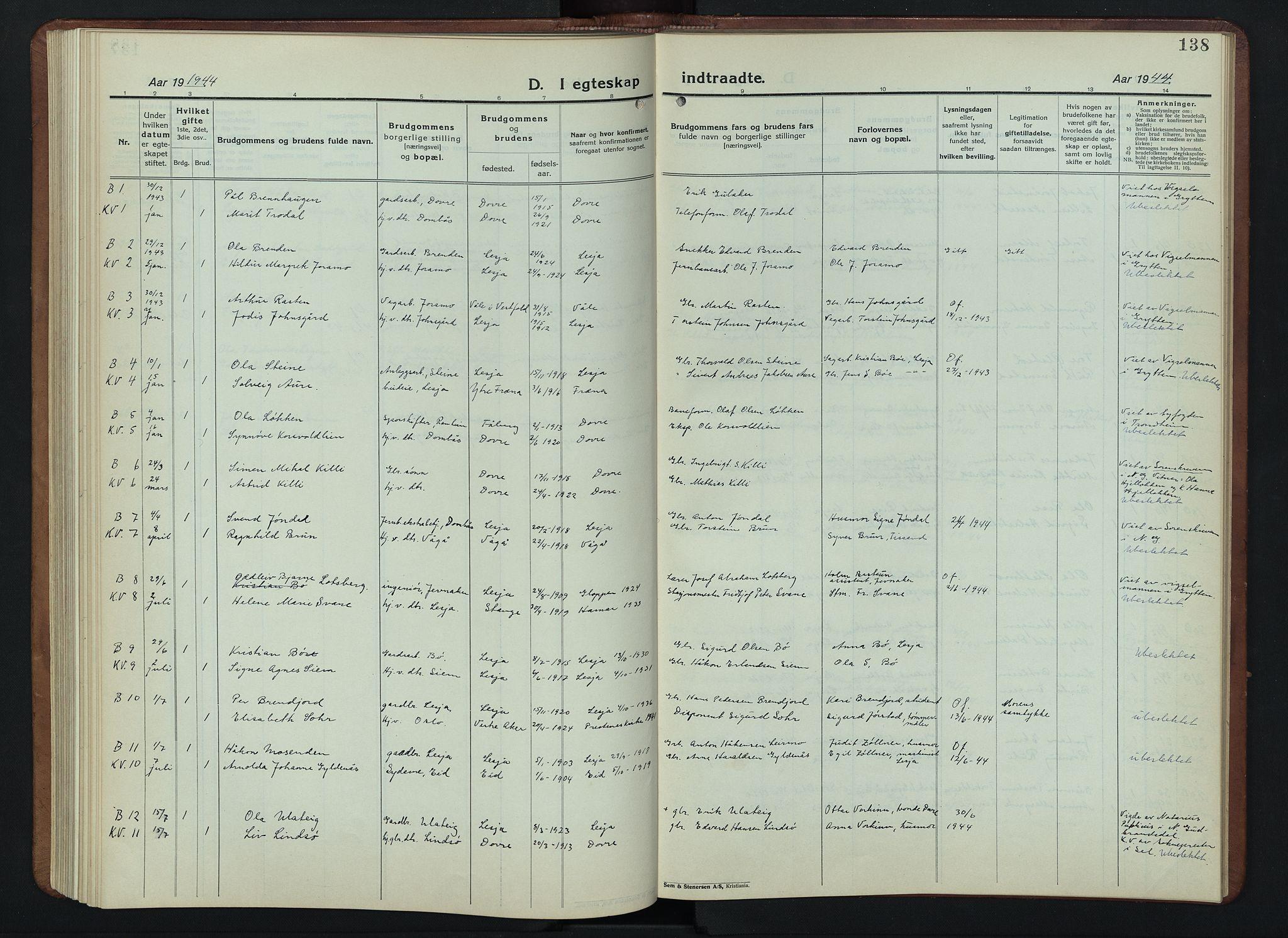 SAH, Lesja prestekontor, Klokkerbok nr. 9, 1924-1947, s. 138