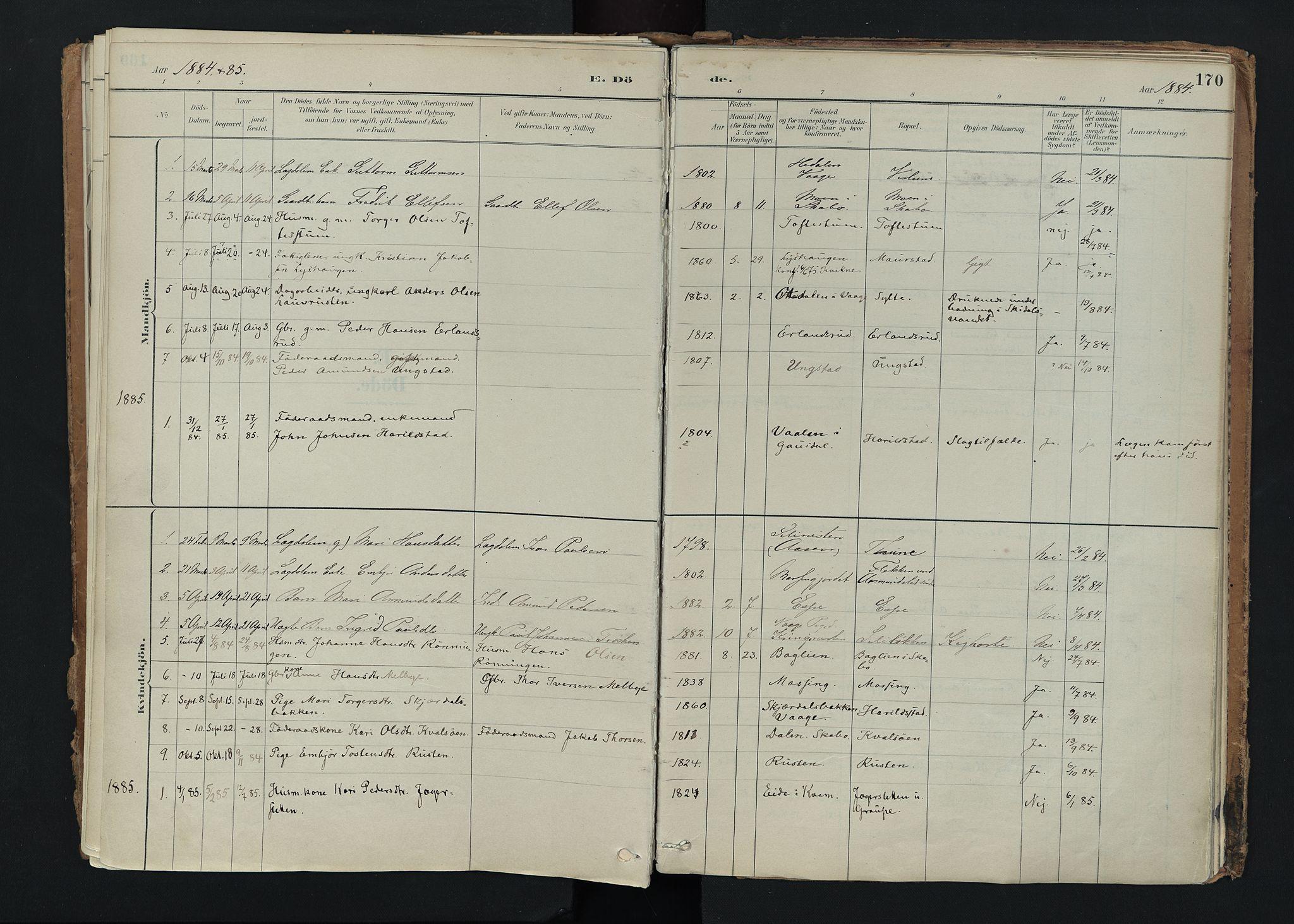 SAH, Nord-Fron prestekontor, Ministerialbok nr. 5, 1884-1914, s. 170