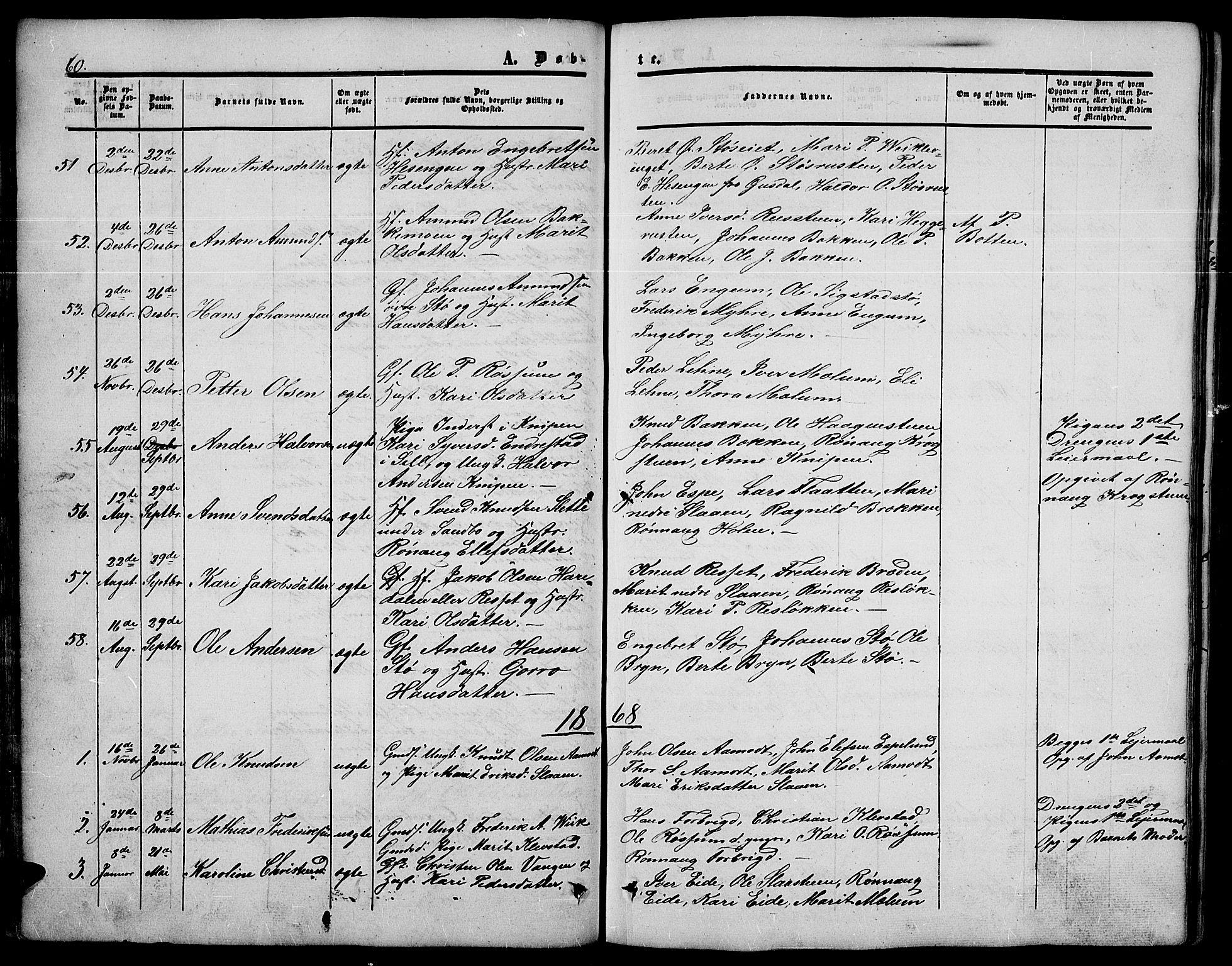 SAH, Nord-Fron prestekontor, Klokkerbok nr. 3, 1851-1886, s. 60