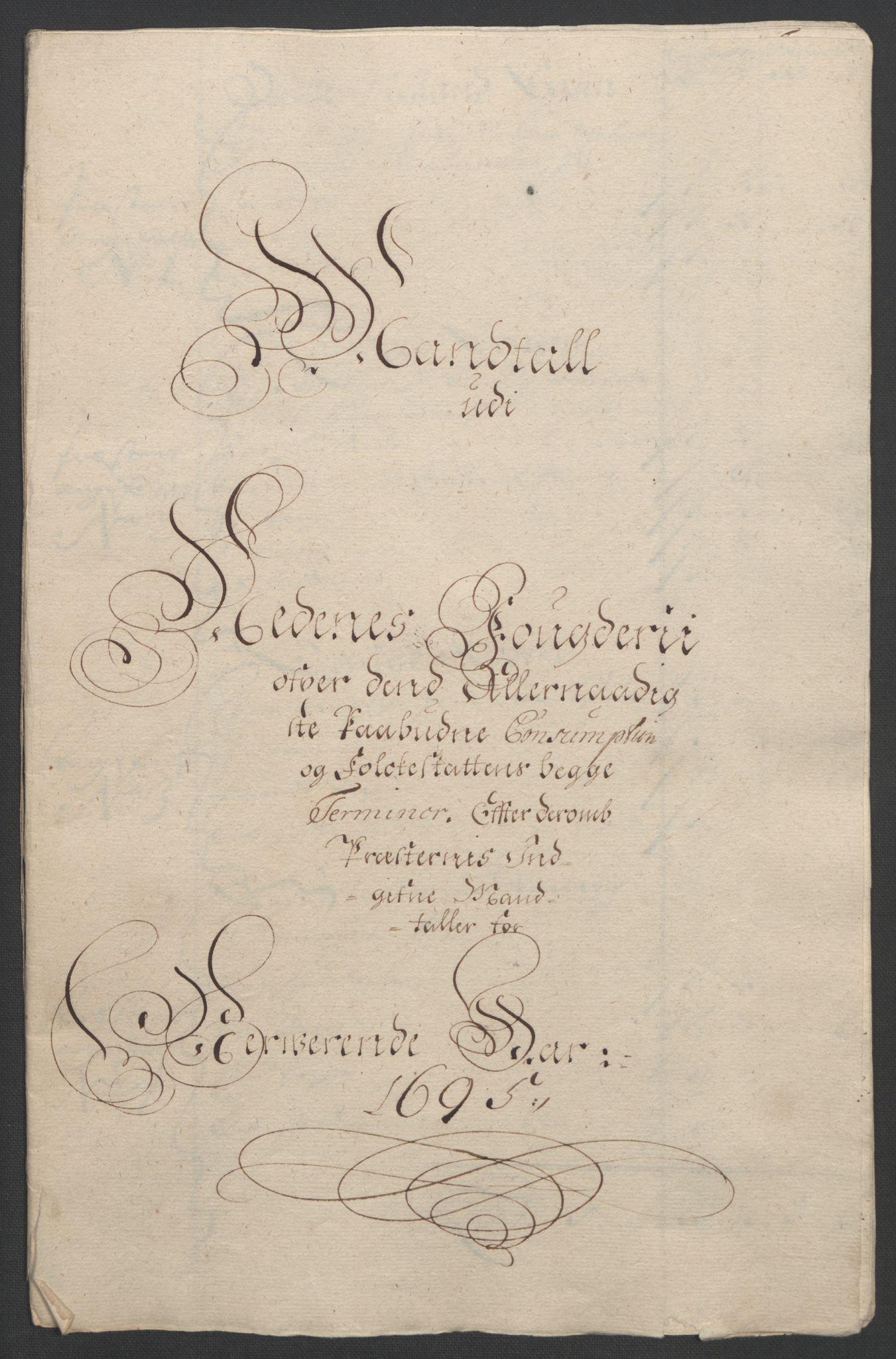 RA, Rentekammeret inntil 1814, Reviderte regnskaper, Fogderegnskap, R39/L2312: Fogderegnskap Nedenes, 1693-1695, s. 268