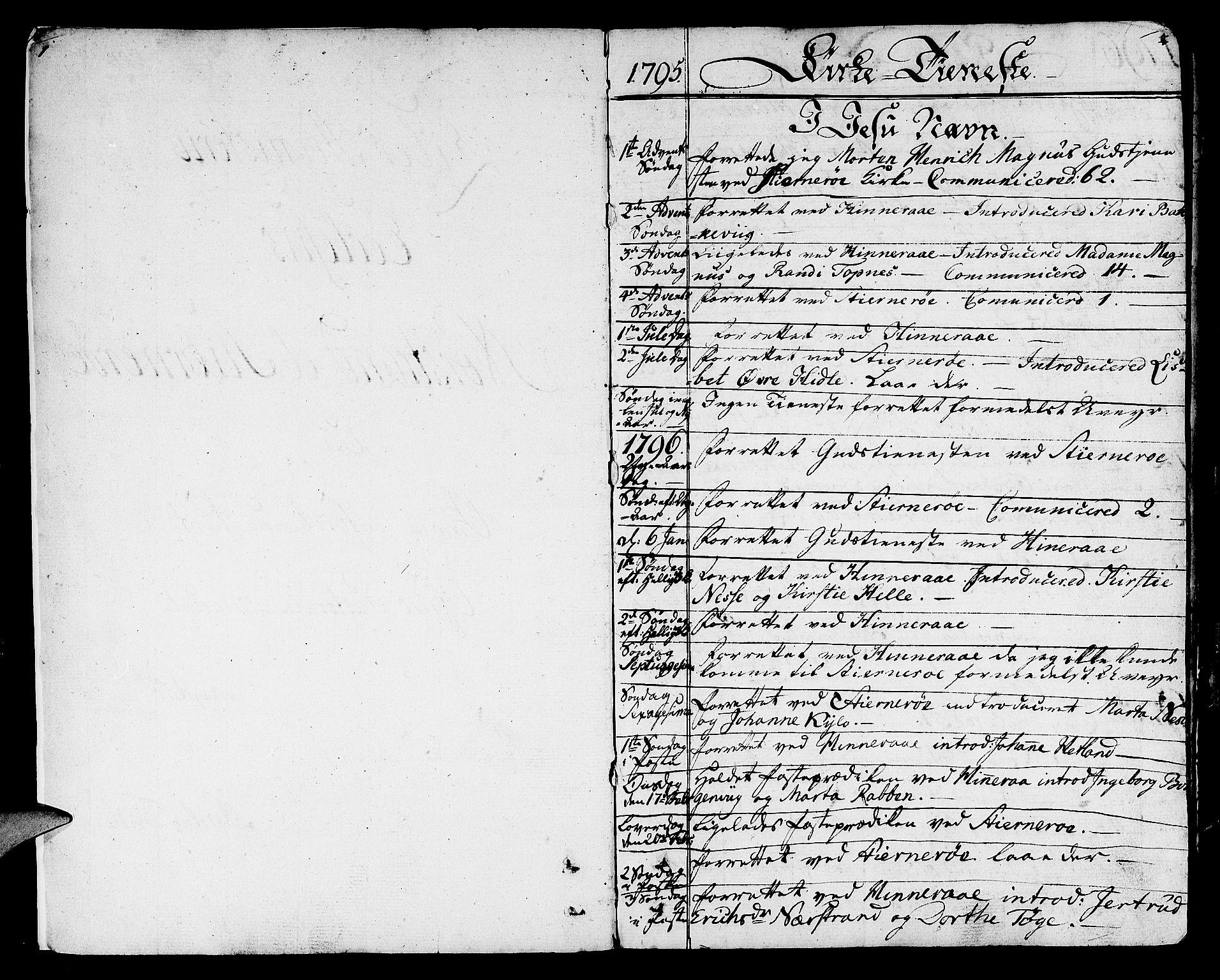SAST, Nedstrand sokneprestkontor, IV: Ministerialbok nr. A 5, 1795-1816, s. 1-2