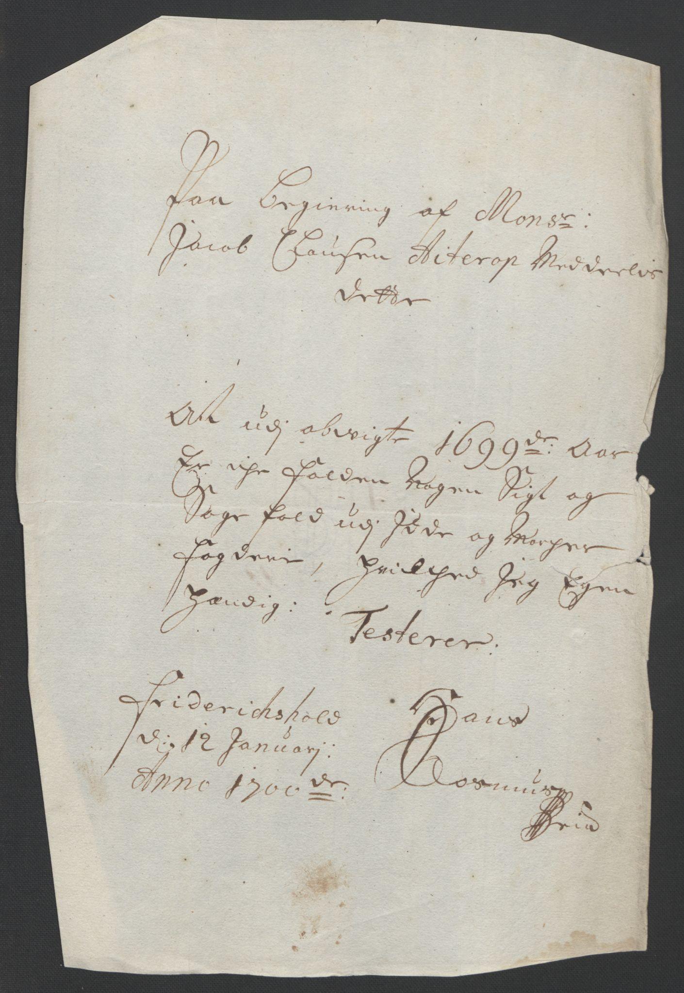RA, Rentekammeret inntil 1814, Reviderte regnskaper, Fogderegnskap, R01/L0014: Fogderegnskap Idd og Marker, 1699, s. 44
