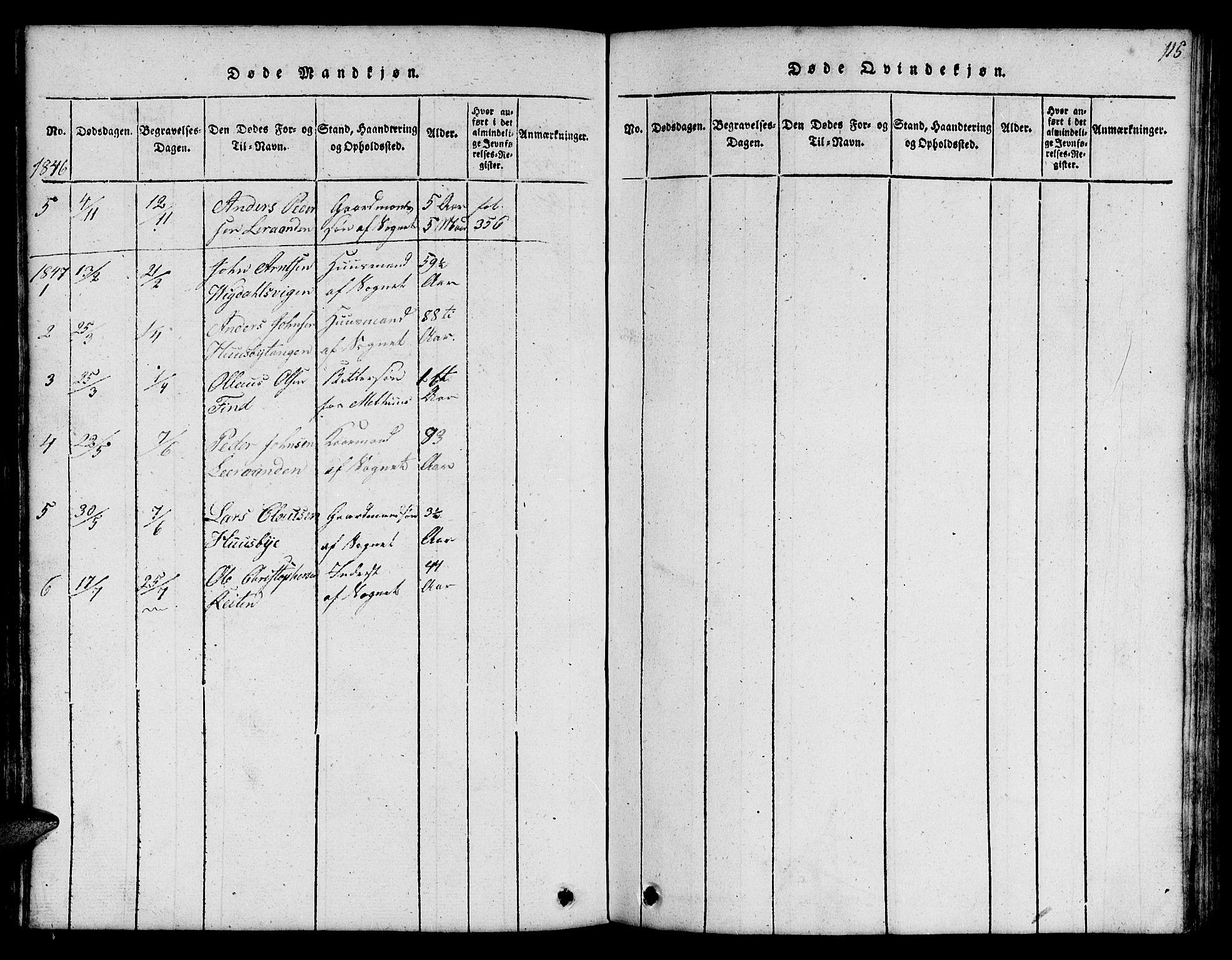 SAT, Ministerialprotokoller, klokkerbøker og fødselsregistre - Sør-Trøndelag, 666/L0788: Klokkerbok nr. 666C01, 1816-1847, s. 115