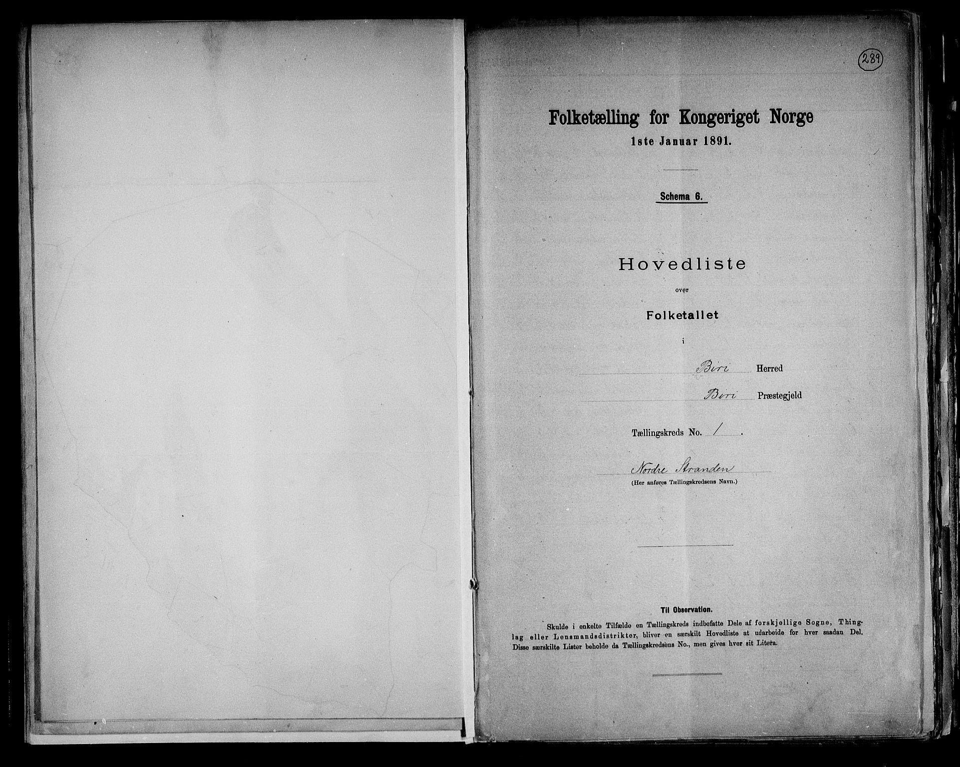 RA, Folketelling 1891 for 0525 Biri herred, 1891, s. 6