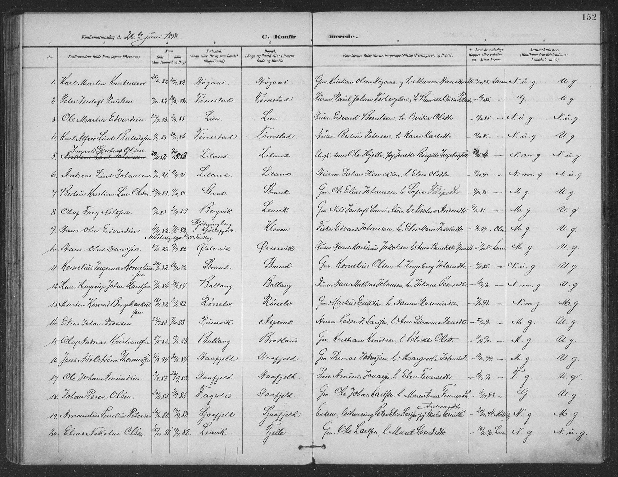 SAT, Ministerialprotokoller, klokkerbøker og fødselsregistre - Nordland, 863/L0899: Ministerialbok nr. 863A11, 1897-1906, s. 152
