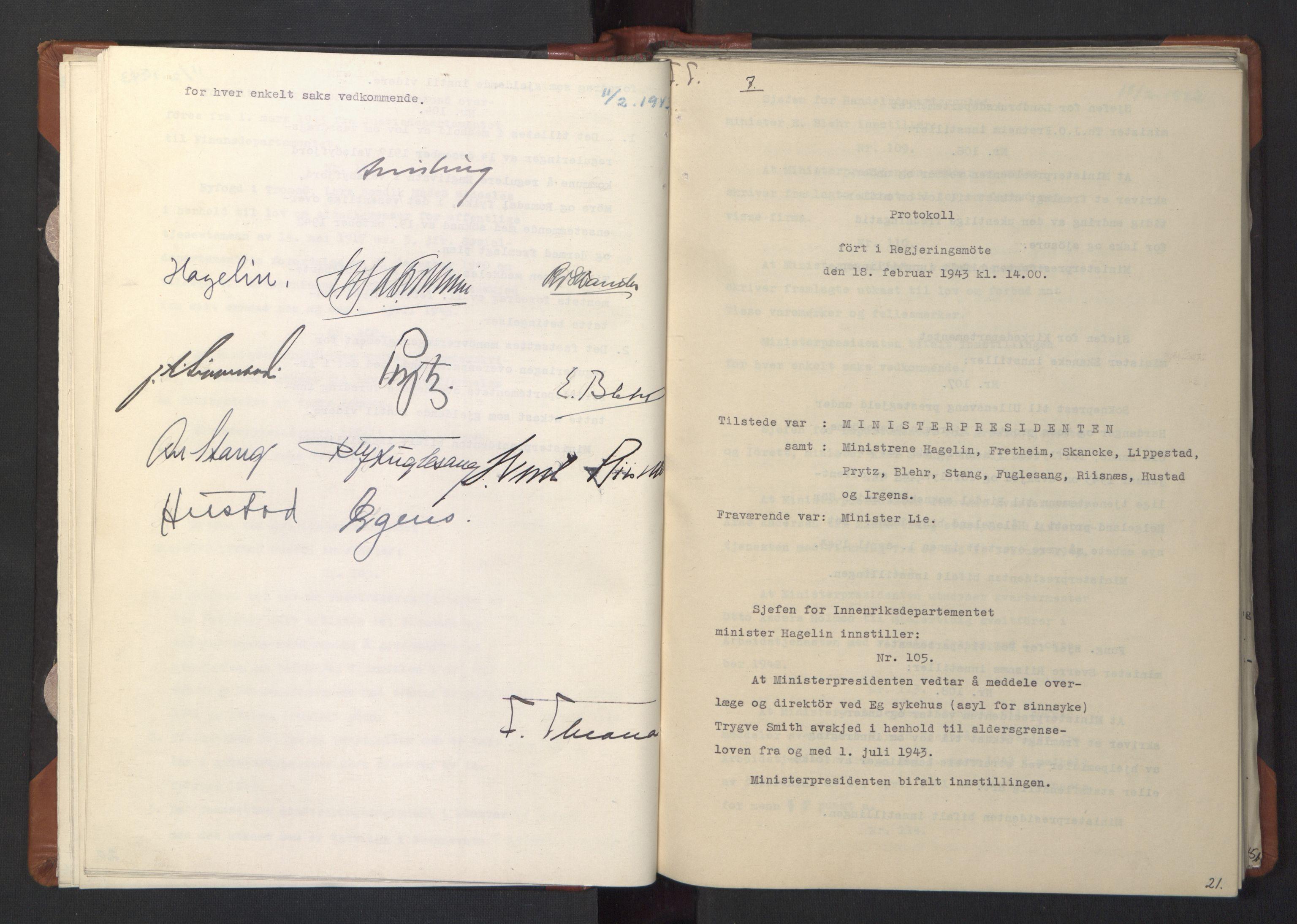 RA, NS-administrasjonen 1940-1945 (Statsrådsekretariatet, de kommisariske statsråder mm), D/Da/L0003: Vedtak (Beslutninger) nr. 1-746 og tillegg nr. 1-47 (RA. j.nr. 1394/1944, tilgangsnr. 8/1944, 1943, s. 20b-21a