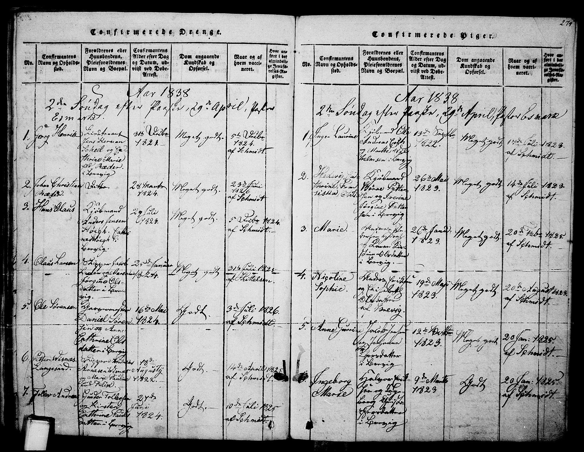 SAKO, Brevik kirkebøker, F/Fa/L0004: Ministerialbok nr. 4, 1814-1846, s. 274