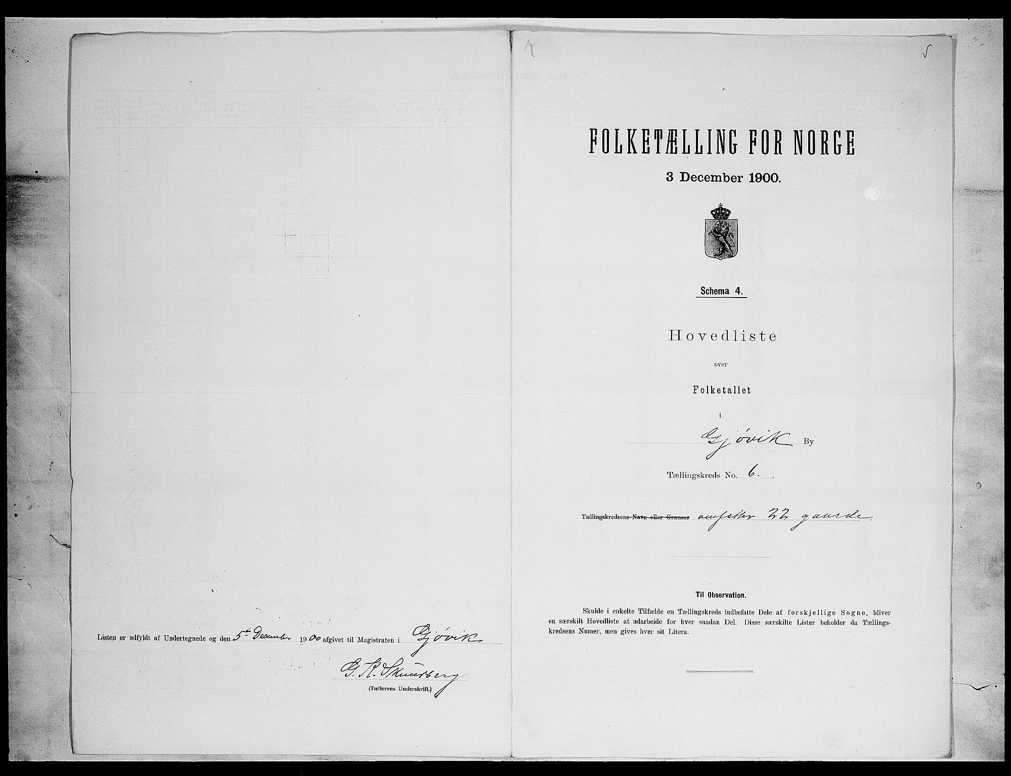SAH, Folketelling 1900 for 0502 Gjøvik kjøpstad, 1900, s. 25