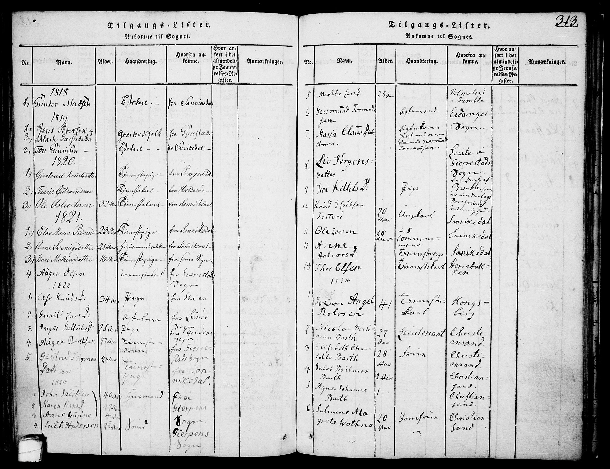 SAKO, Drangedal kirkebøker, F/Fa/L0005: Ministerialbok nr. 5 /1, 1814-1831, s. 313