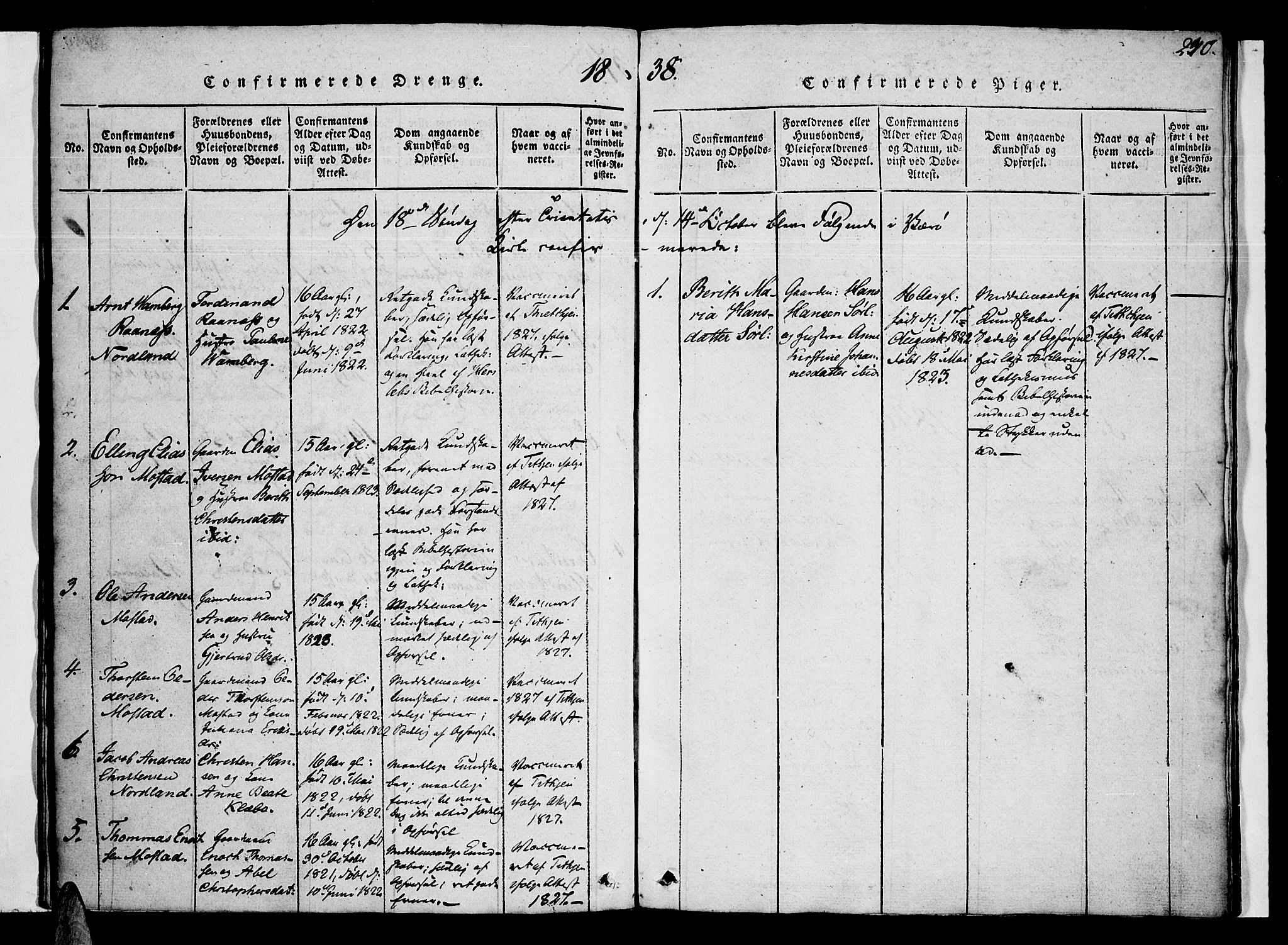 SAT, Ministerialprotokoller, klokkerbøker og fødselsregistre - Nordland, 807/L0120: Ministerialbok nr. 807A03, 1821-1848, s. 240