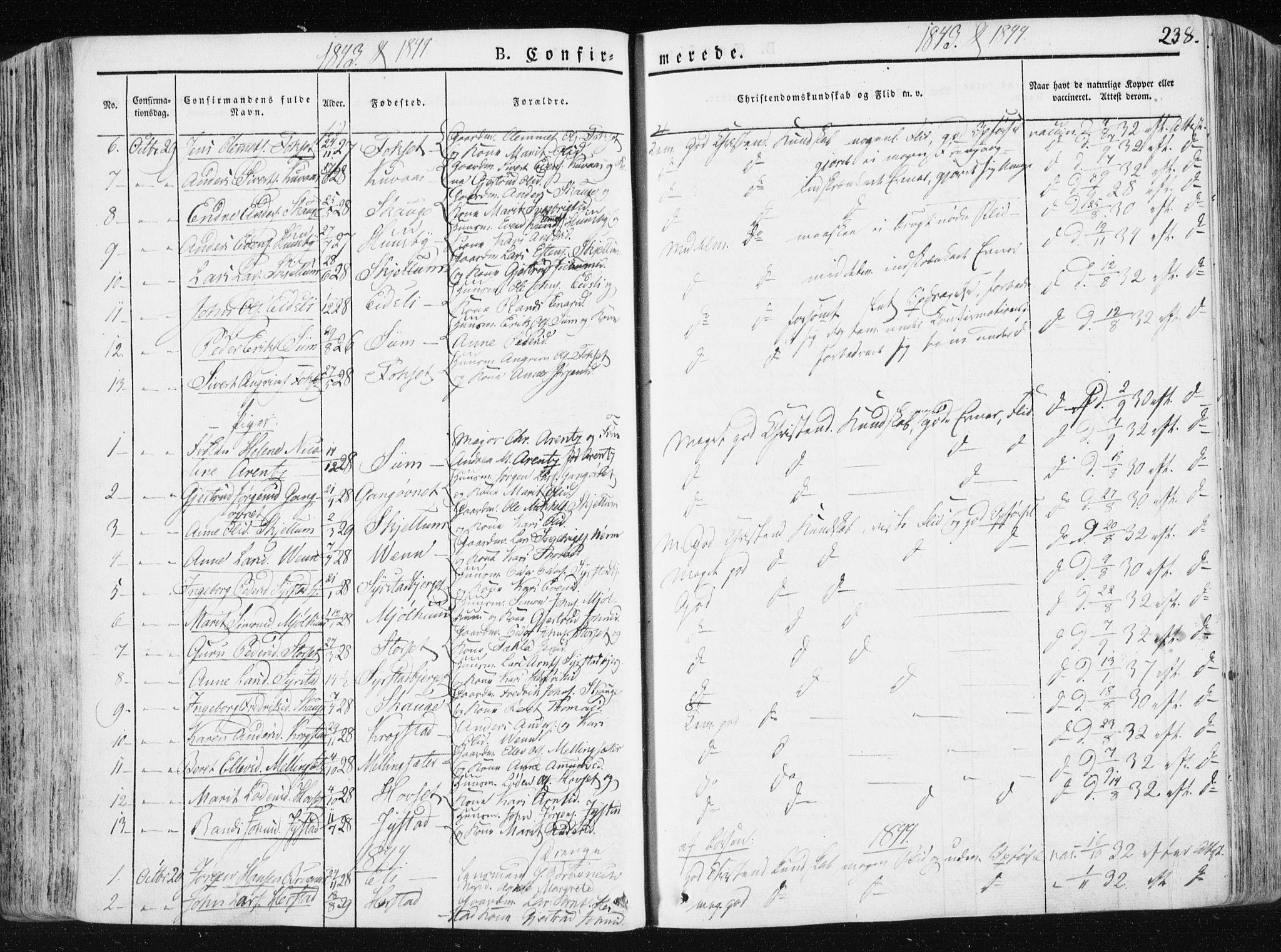 SAT, Ministerialprotokoller, klokkerbøker og fødselsregistre - Sør-Trøndelag, 665/L0771: Ministerialbok nr. 665A06, 1830-1856, s. 238