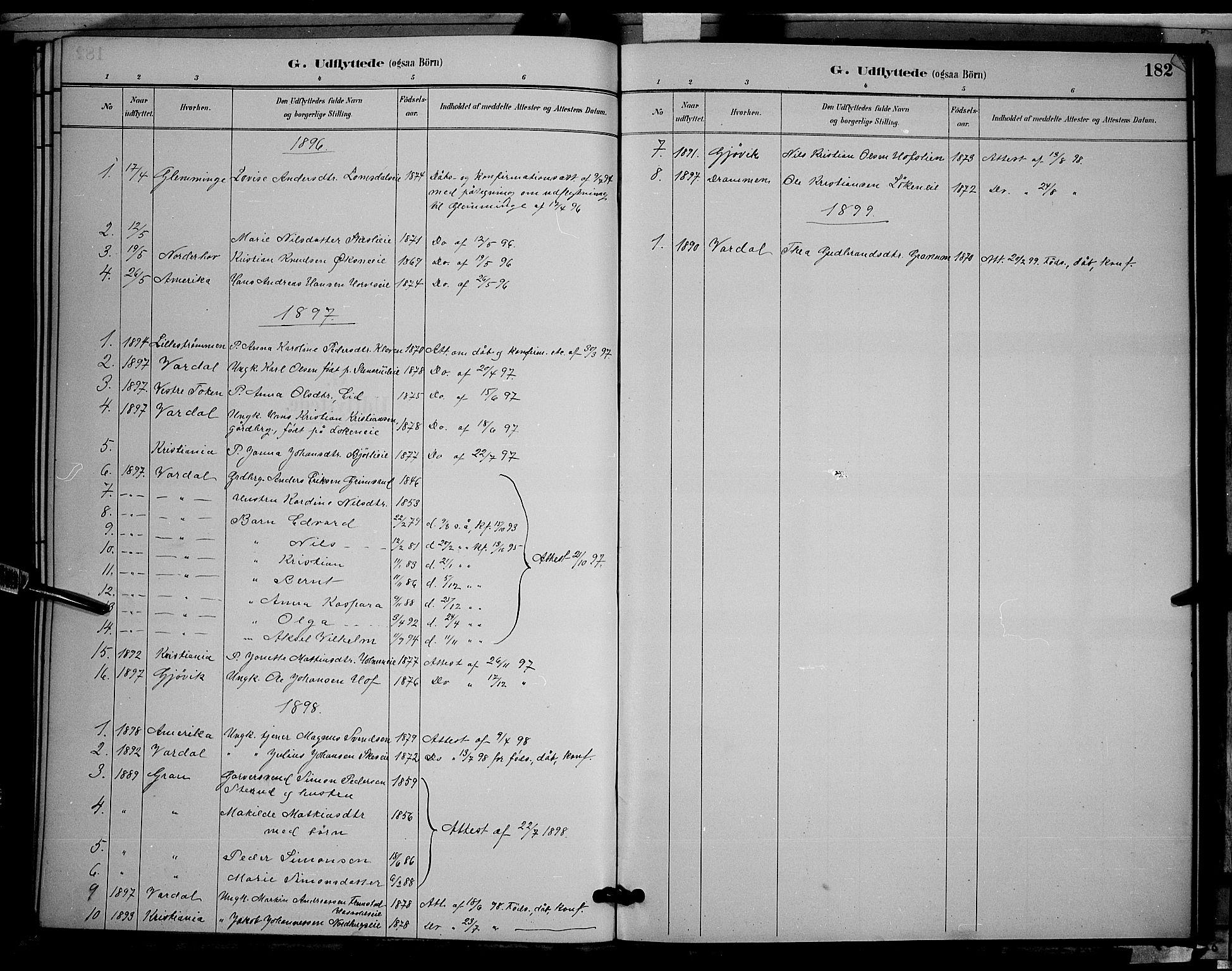 SAH, Søndre Land prestekontor, L/L0002: Klokkerbok nr. 2, 1884-1900, s. 182