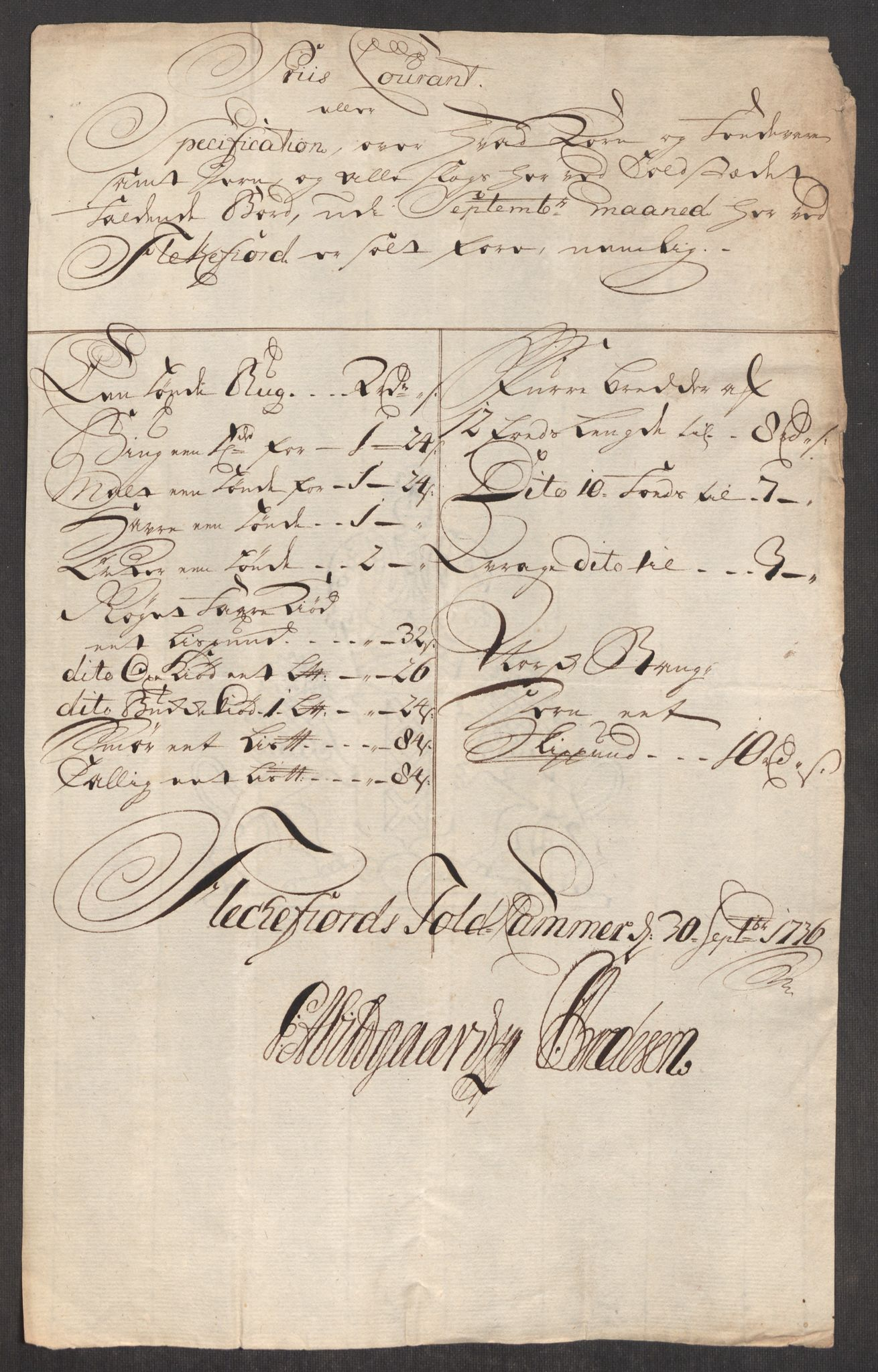 RA, Rentekammeret inntil 1814, Realistisk ordnet avdeling, Oe/L0001: [Ø1]: Priskuranter, 1712-1739, s. 424