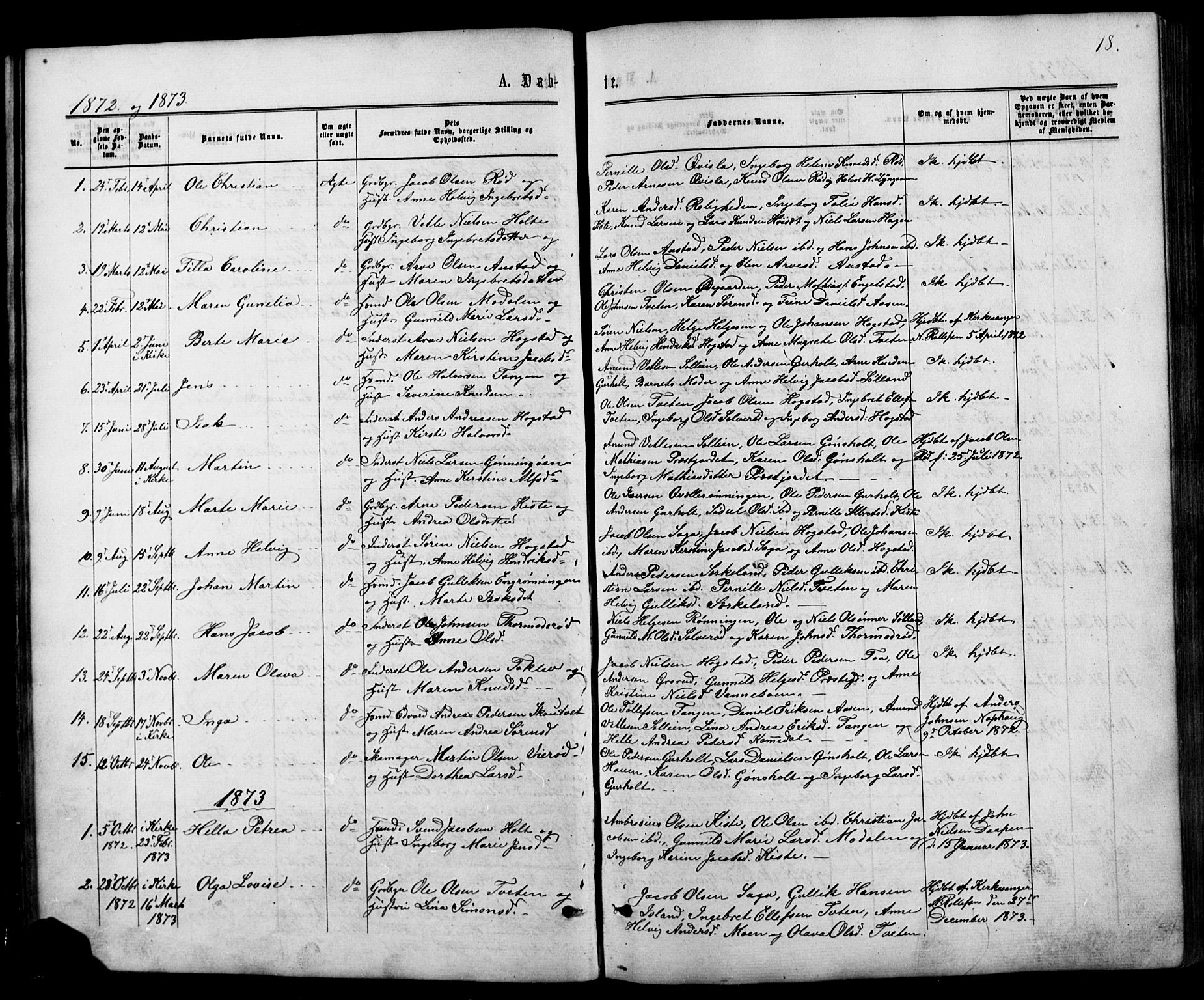 SAKO, Siljan kirkebøker, G/Ga/L0002: Klokkerbok nr. 2, 1864-1908, s. 18