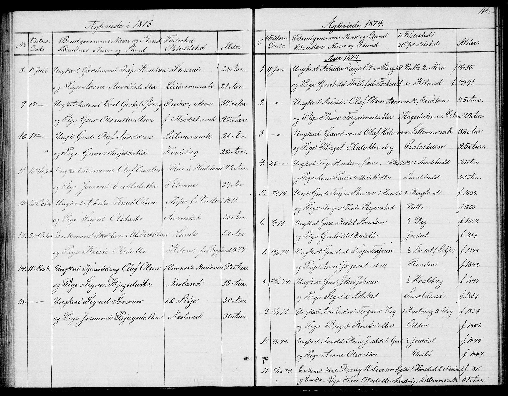 SAKO, Fyresdal kirkebøker, G/Ga/L0004: Klokkerbok nr. I 4, 1864-1892, s. 146