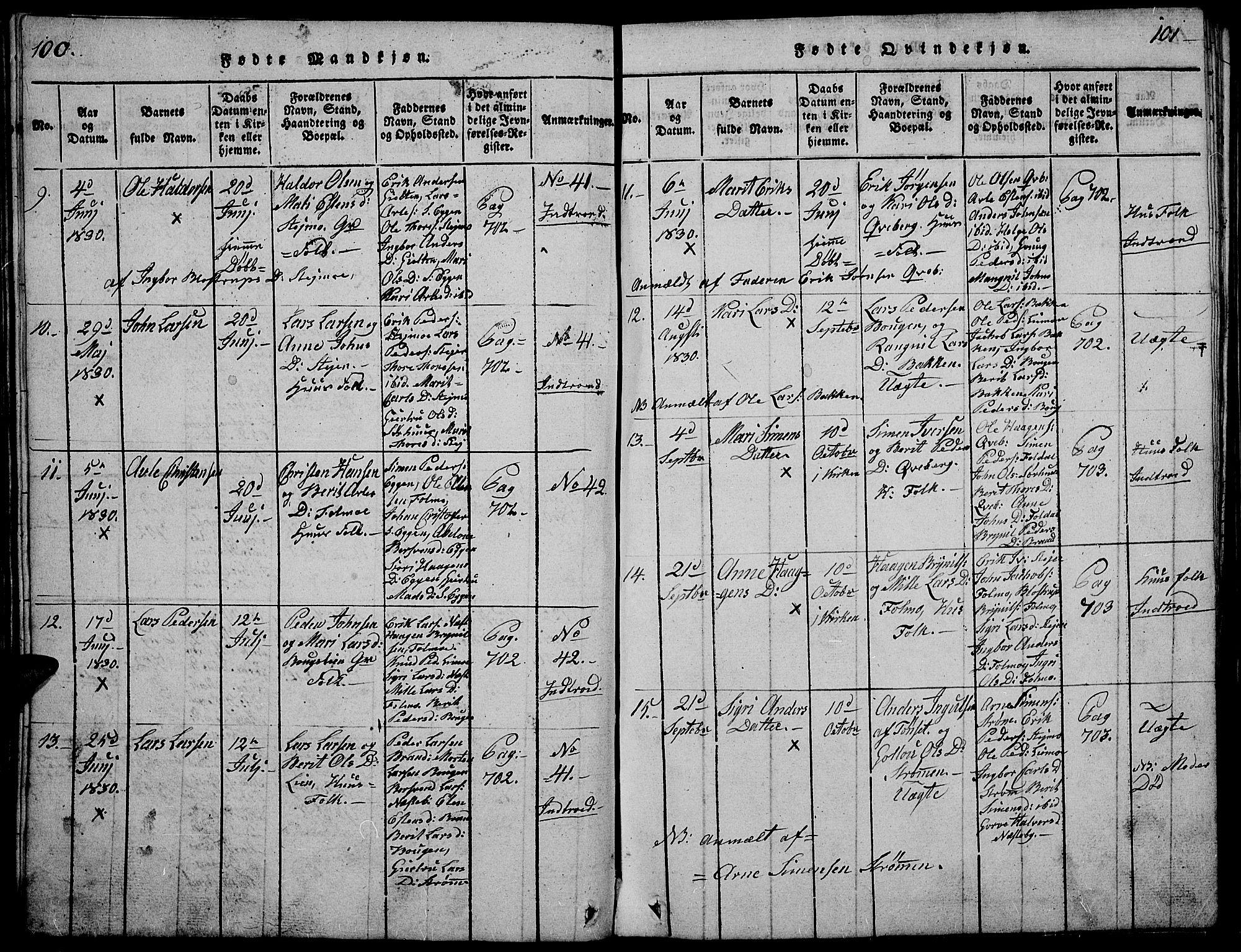 SAH, Tynset prestekontor, Klokkerbok nr. 2, 1814-1862, s. 100-101