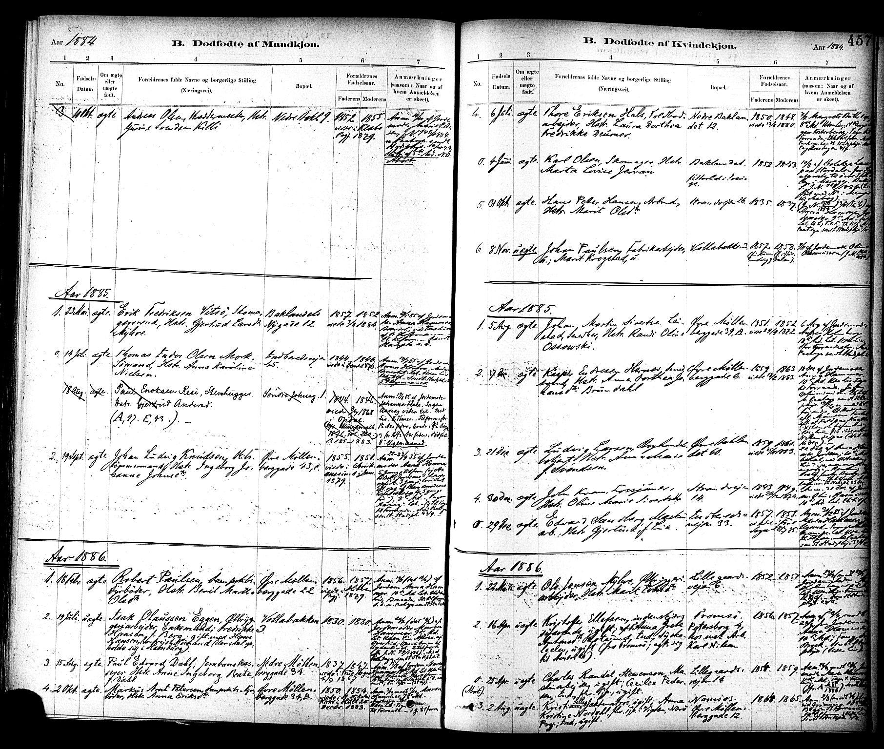 SAT, Ministerialprotokoller, klokkerbøker og fødselsregistre - Sør-Trøndelag, 604/L0188: Ministerialbok nr. 604A09, 1878-1892, s. 457