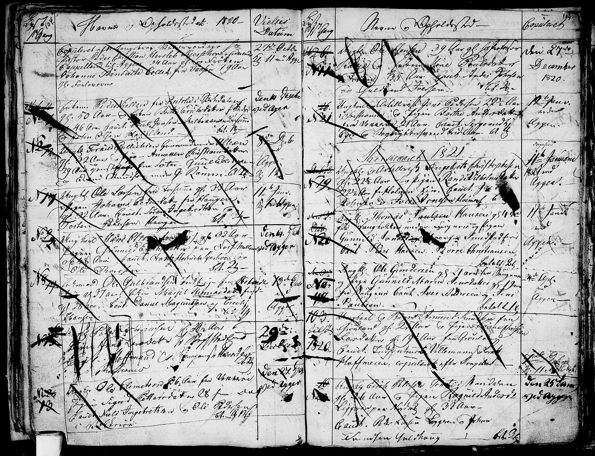 SAO, Aker prestekontor kirkebøker, G/L0001: Klokkerbok nr. 1, 1796-1826, s. 104-105