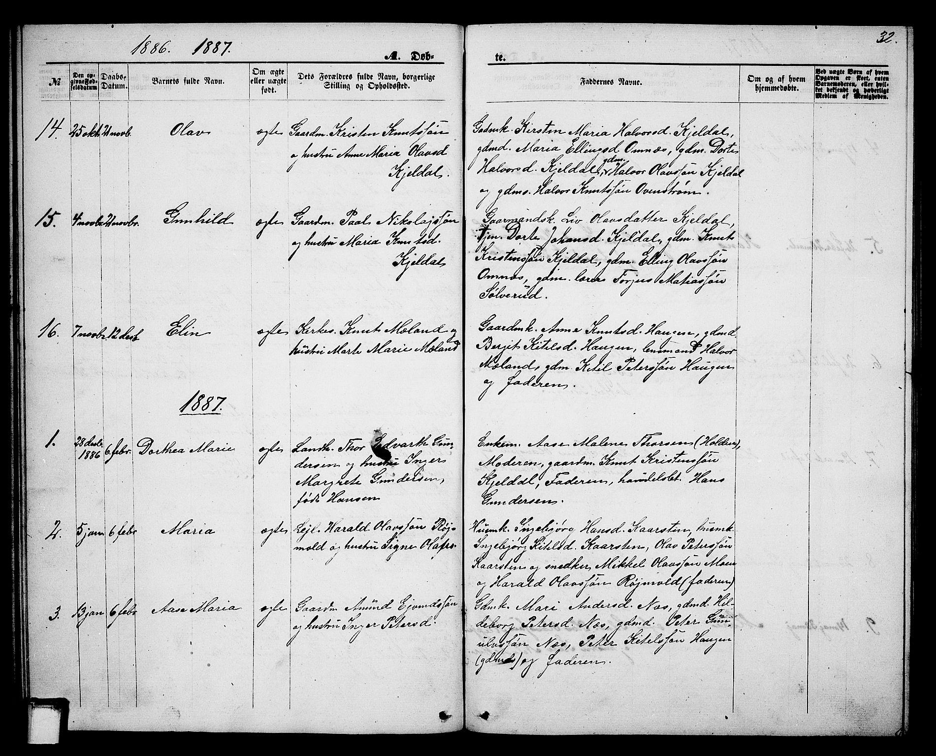 SAKO, Lunde kirkebøker, G/Gb/L0001: Klokkerbok nr. II 1, 1866-1887, s. 32
